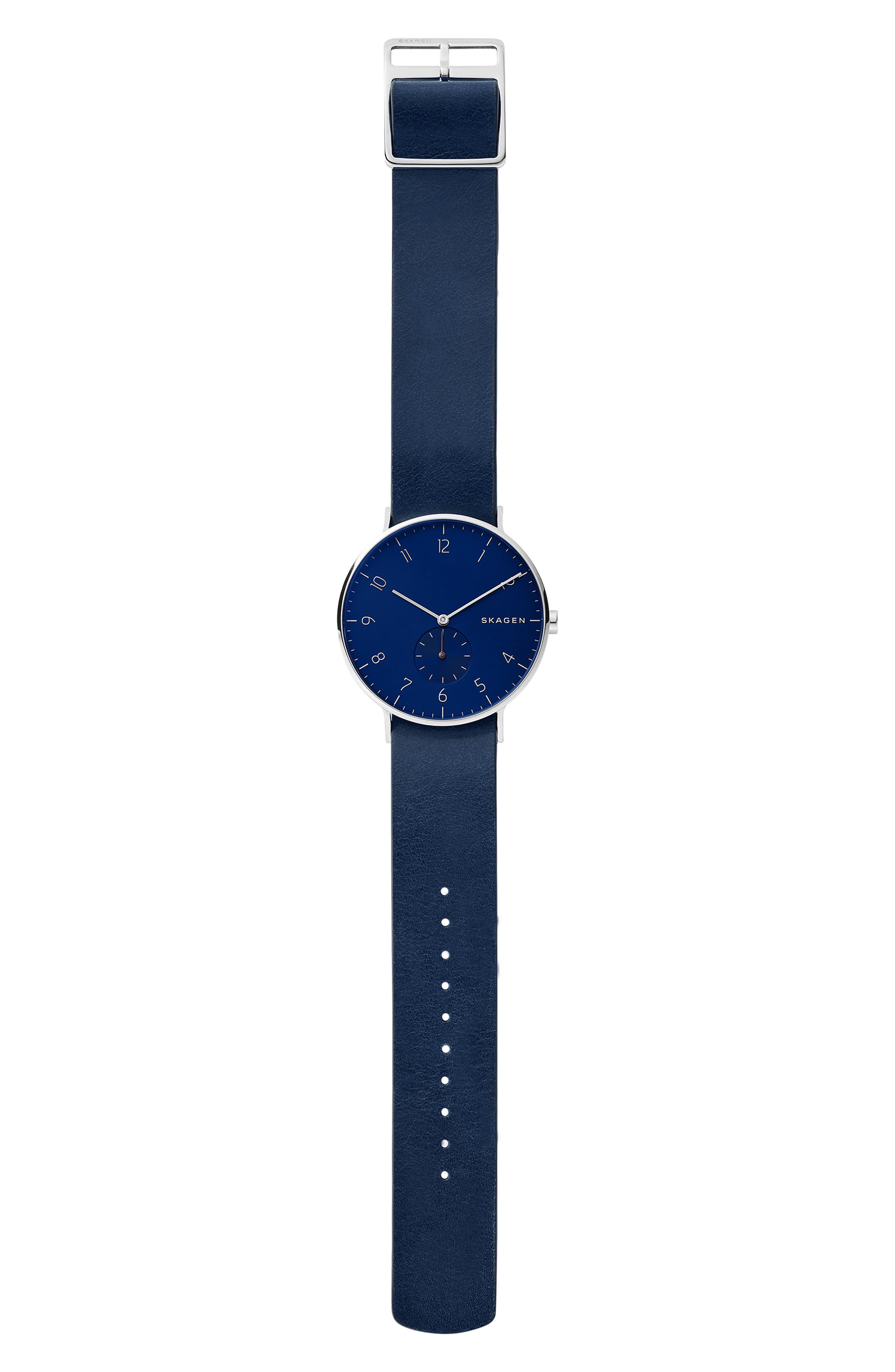 SKAGEN, Aaren Reversible Leather Strap Watch, 40mm, Alternate thumbnail 3, color, BLUE/ SILVER