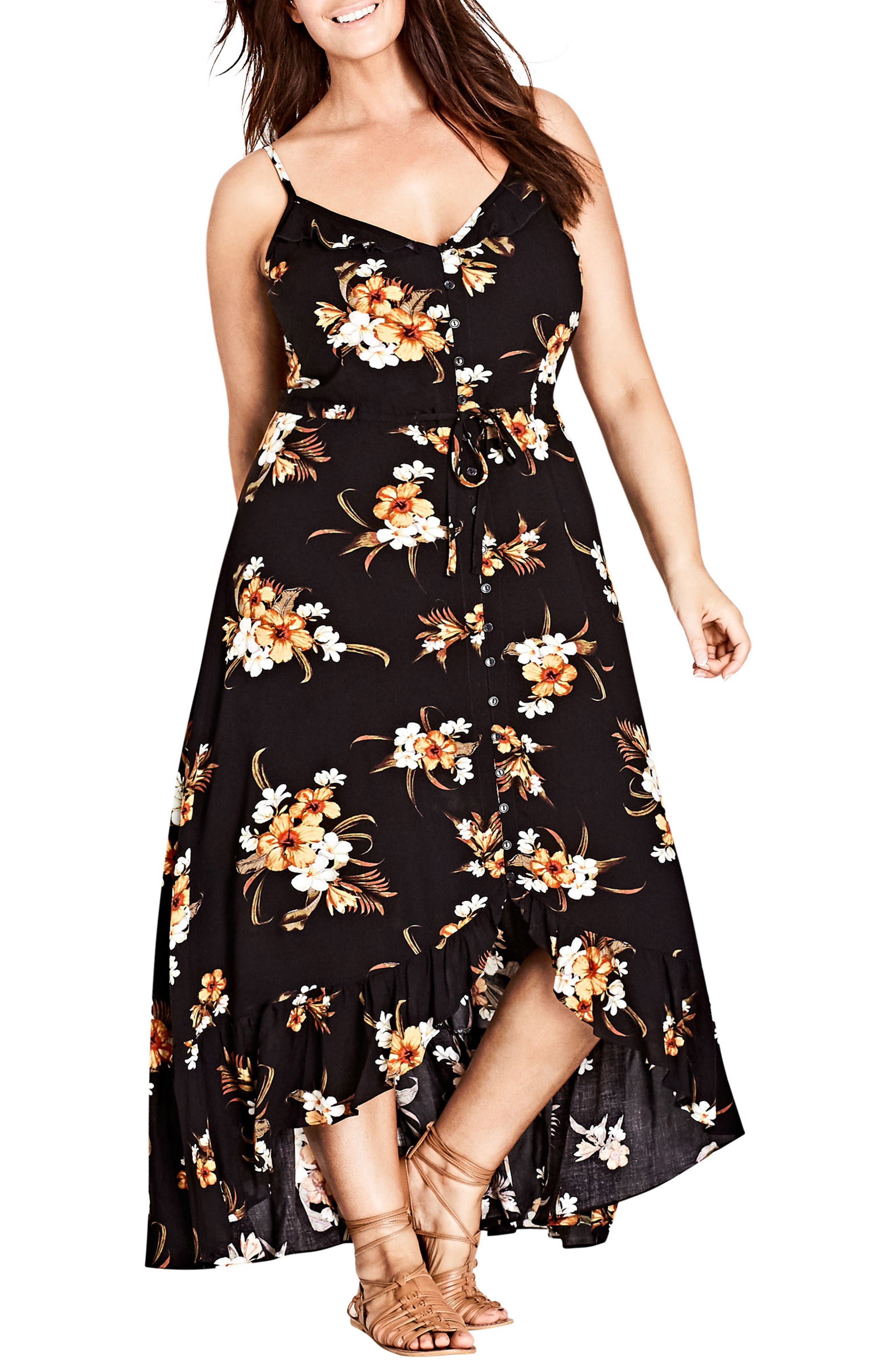 CITY CHIC, Aruba Floral Maxi Dress, Main thumbnail 1, color, BLACK PRINT
