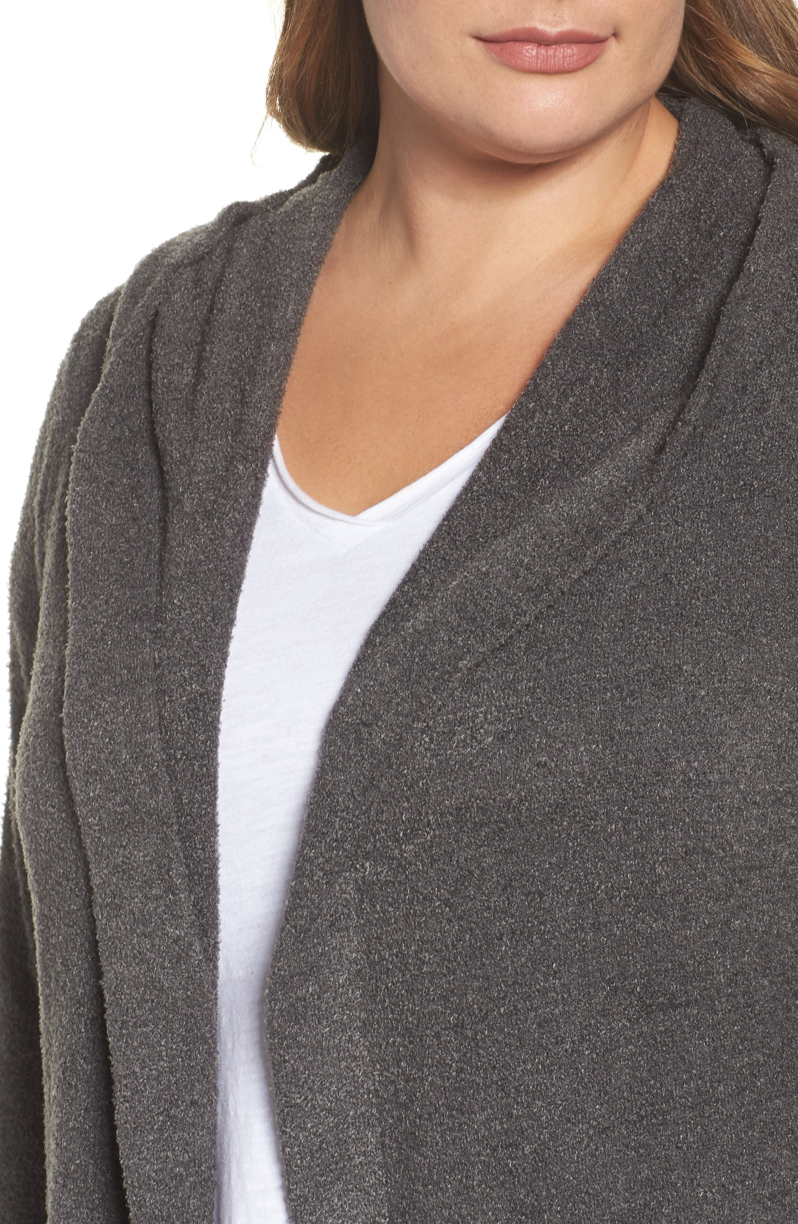 BAREFOOT DREAMS<SUP>®</SUP>, Cozychic Lite<sup>®</sup> Coastal Hooded Cardigan, Alternate thumbnail 4, color, CARBON