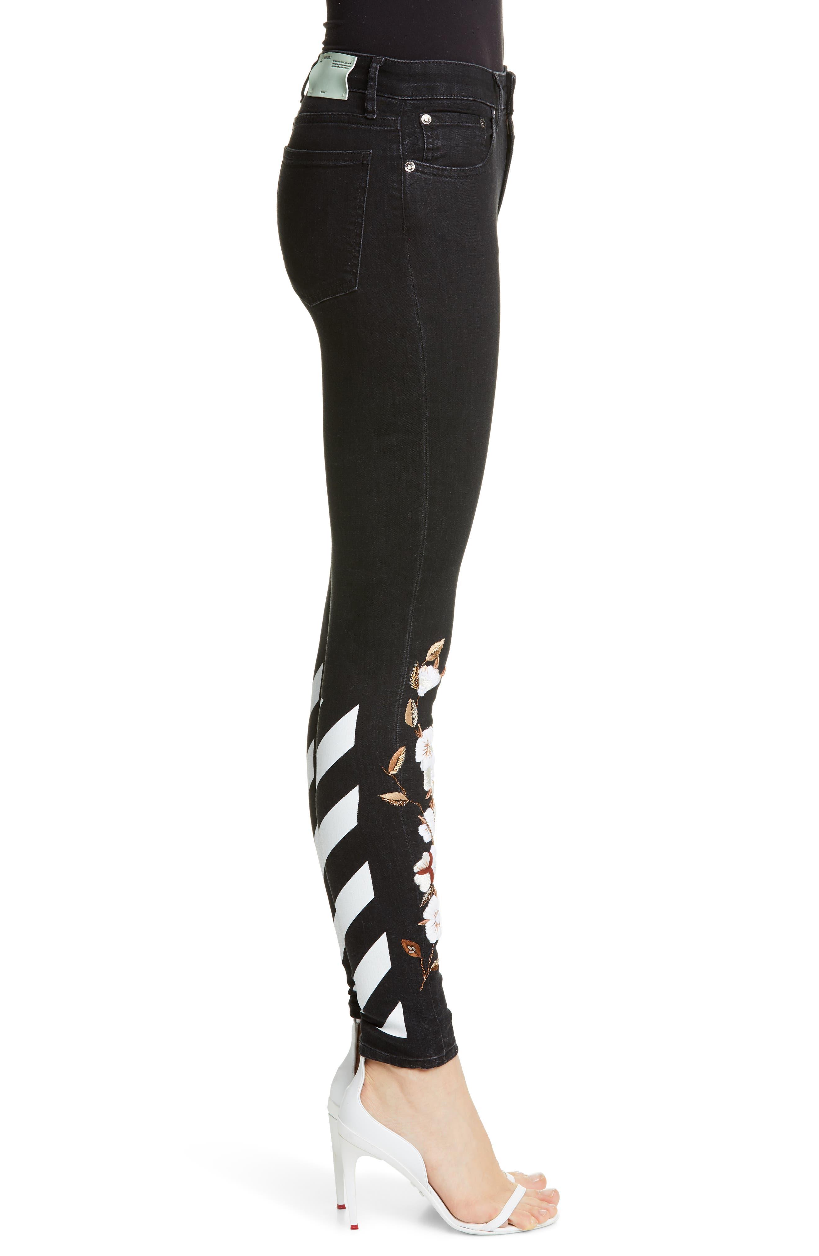OFF-WHITE, Floral Embroidered Diagonal Stripe Skinny Jeans, Alternate thumbnail 3, color, VINTAGE BLACK