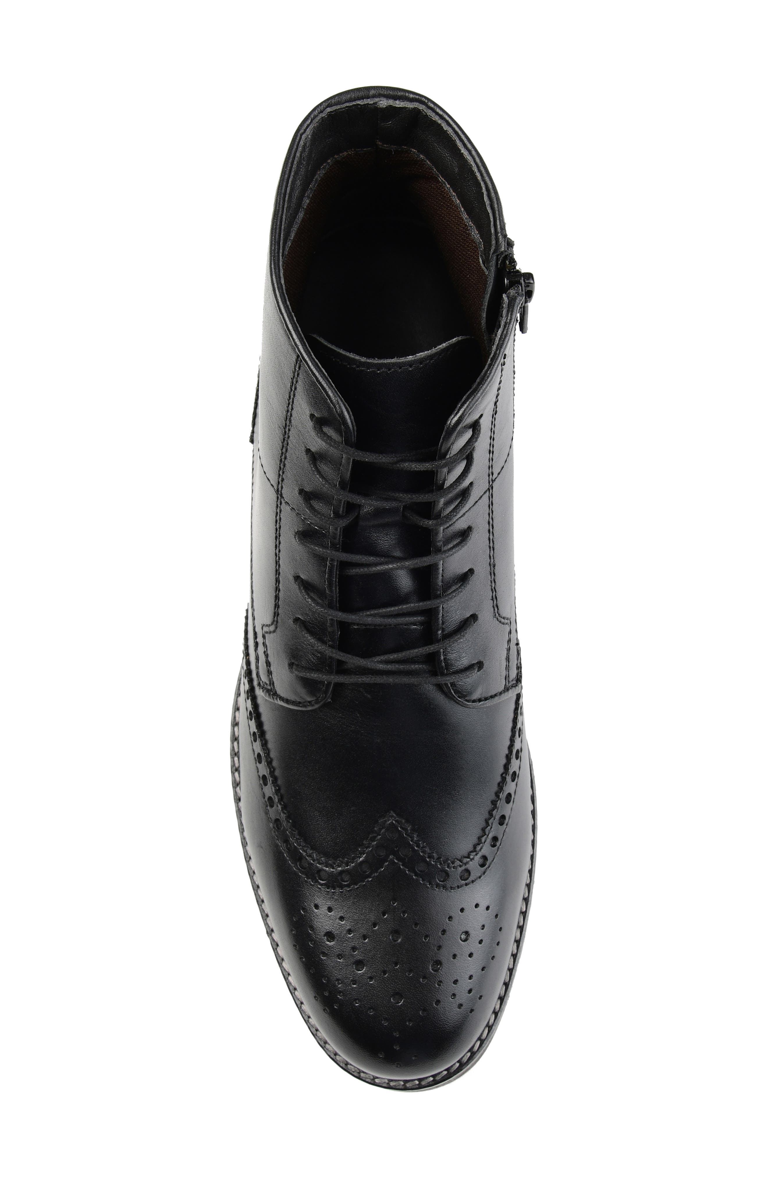 THOMAS AND VINE, Ryker Wingtip Boot, Alternate thumbnail 5, color, BLACK LEATHER
