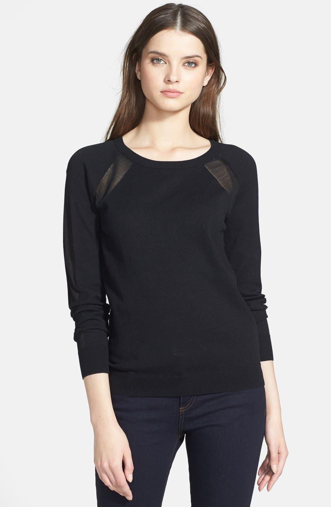 HALOGEN<SUP>®</SUP>, Semi-Sheer Inset Sweater, Main thumbnail 1, color, 001