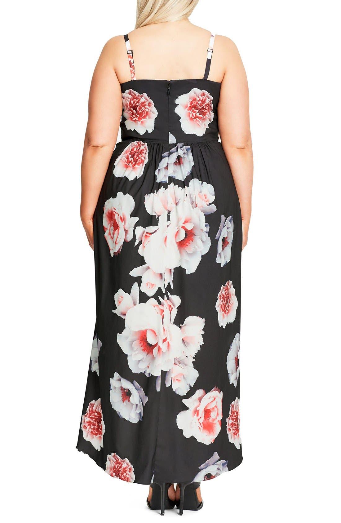 CITY CHIC, 'Open Rose' Print Tulip Hem Maxi Dress, Alternate thumbnail 3, color, 001