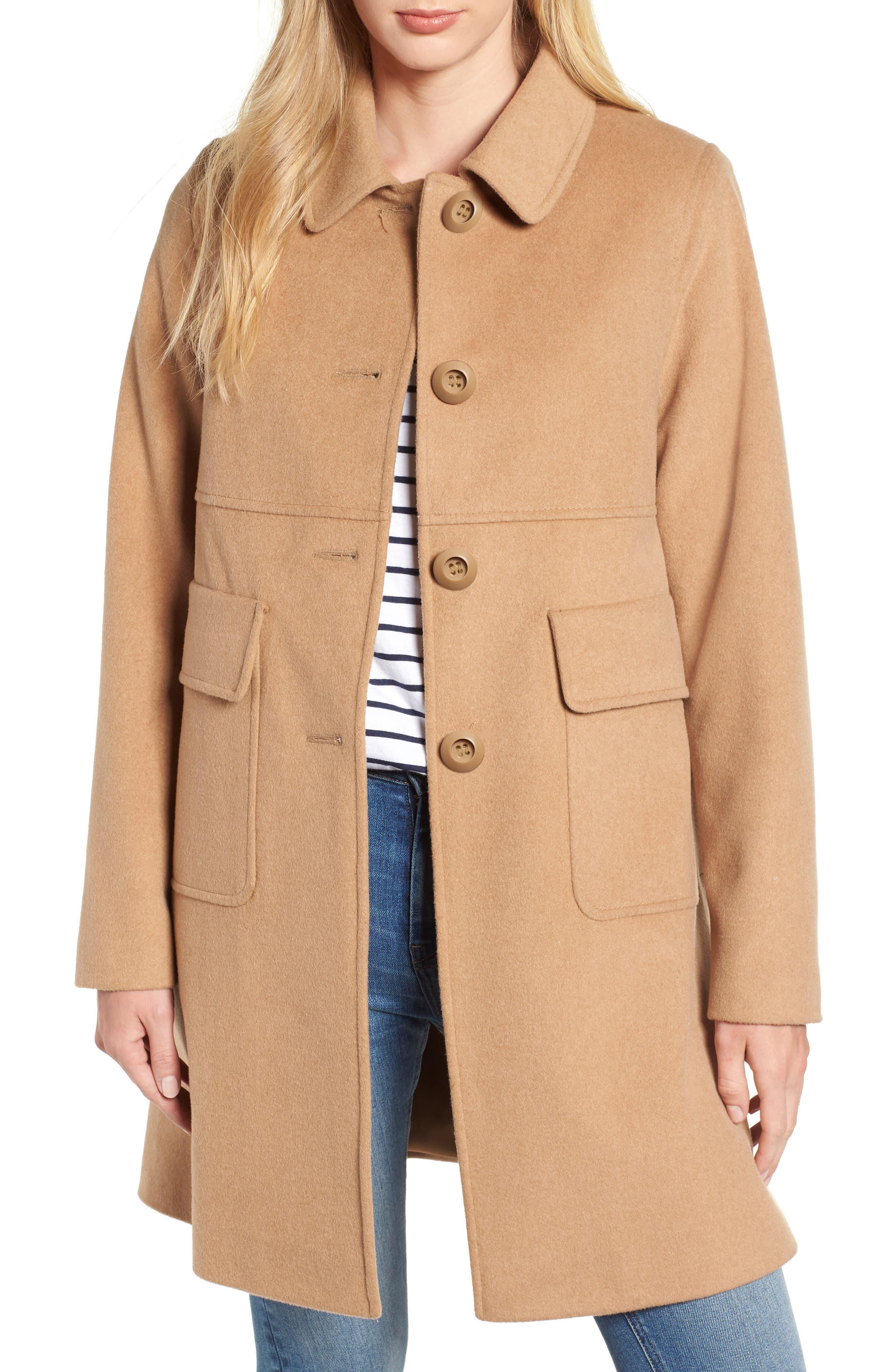 KRISTEN BLAKE Wool Walking Coat, Main, color, CAMEL
