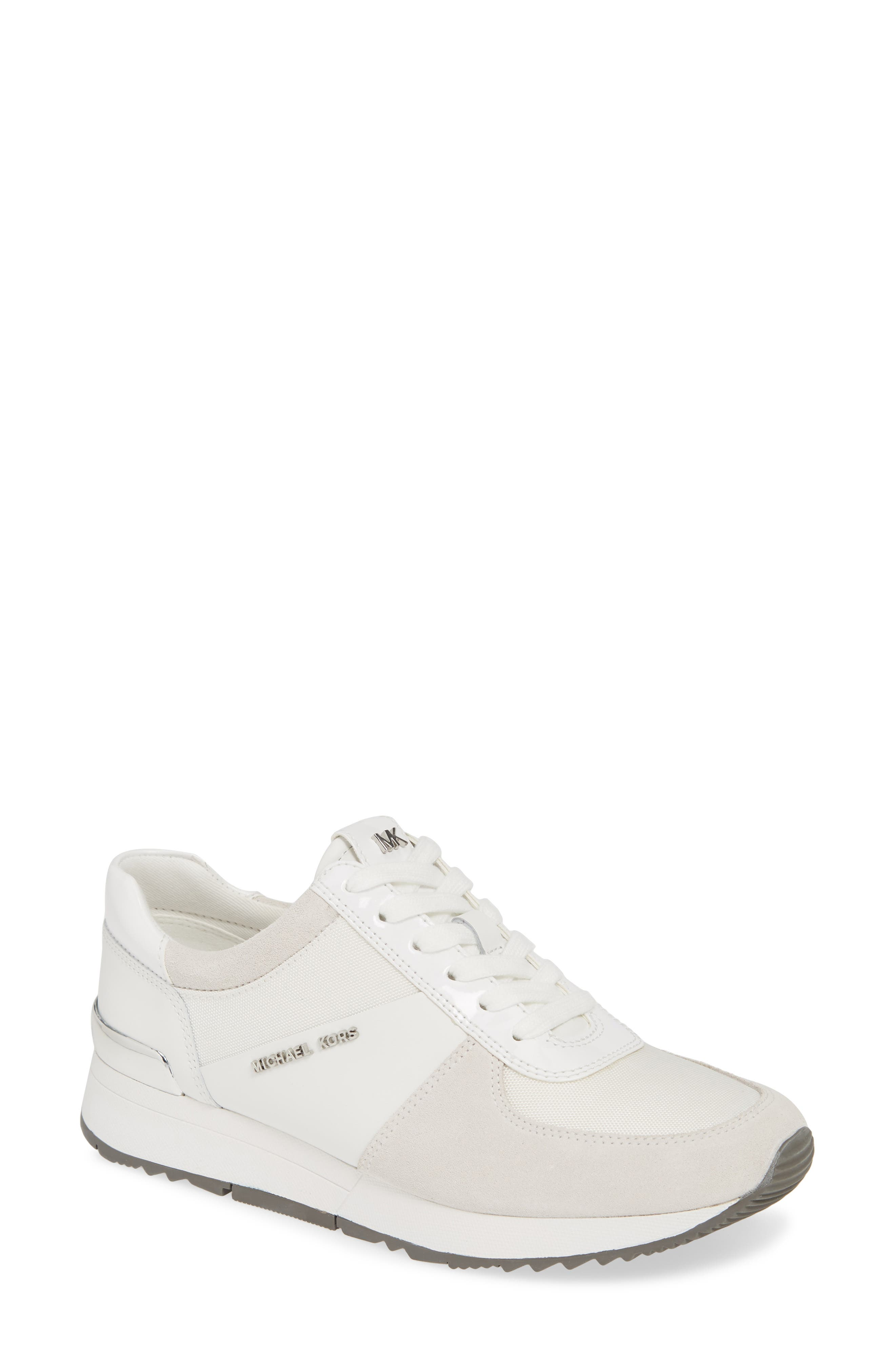 MICHAEL MICHAEL KORS 'Allie' Sneaker, Main, color, OPTIC WHITE LEATHER/ CANVAS