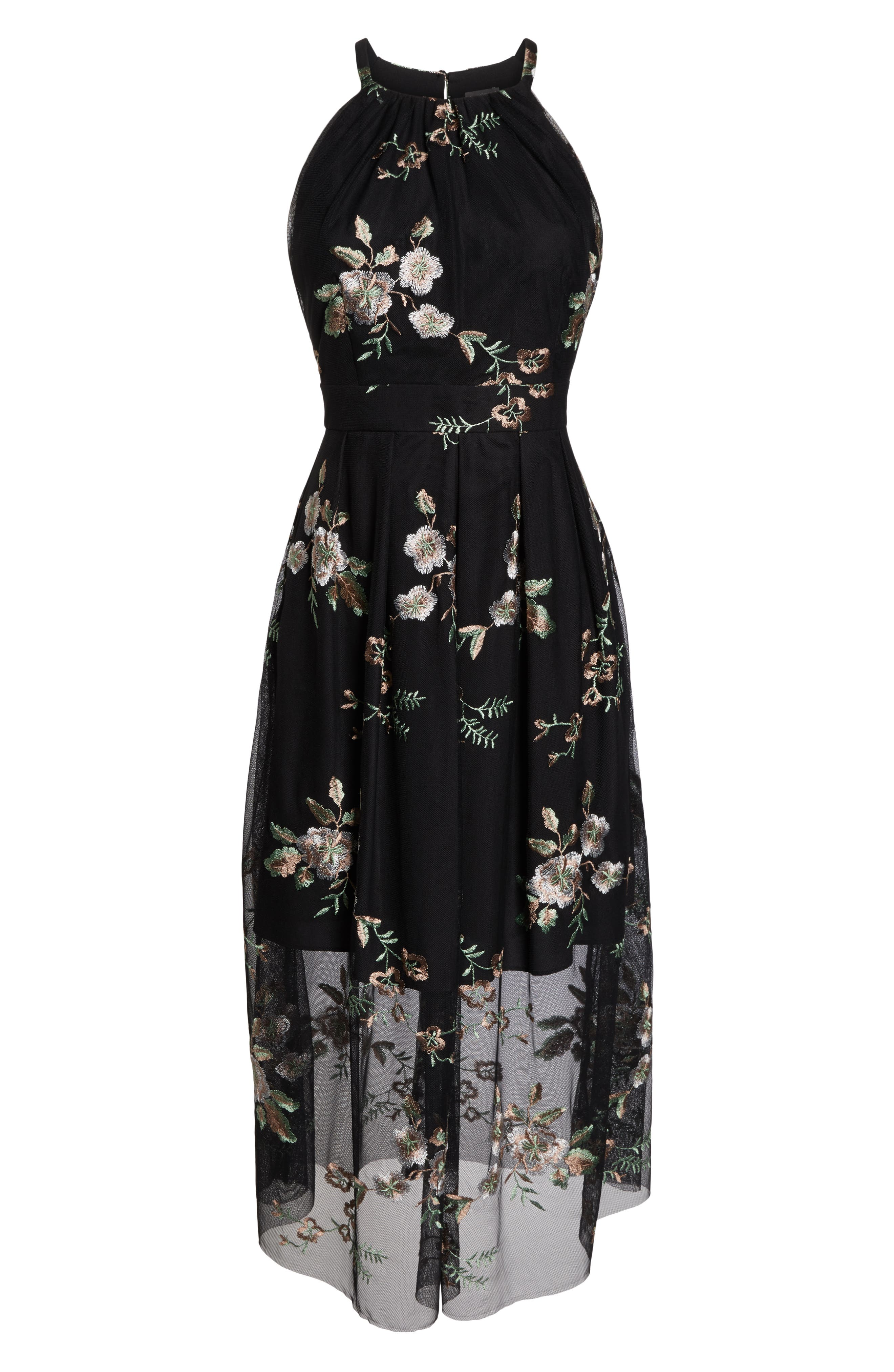 VINCE CAMUTO, Embroidered Mesh Midi Dress, Alternate thumbnail 7, color, 019