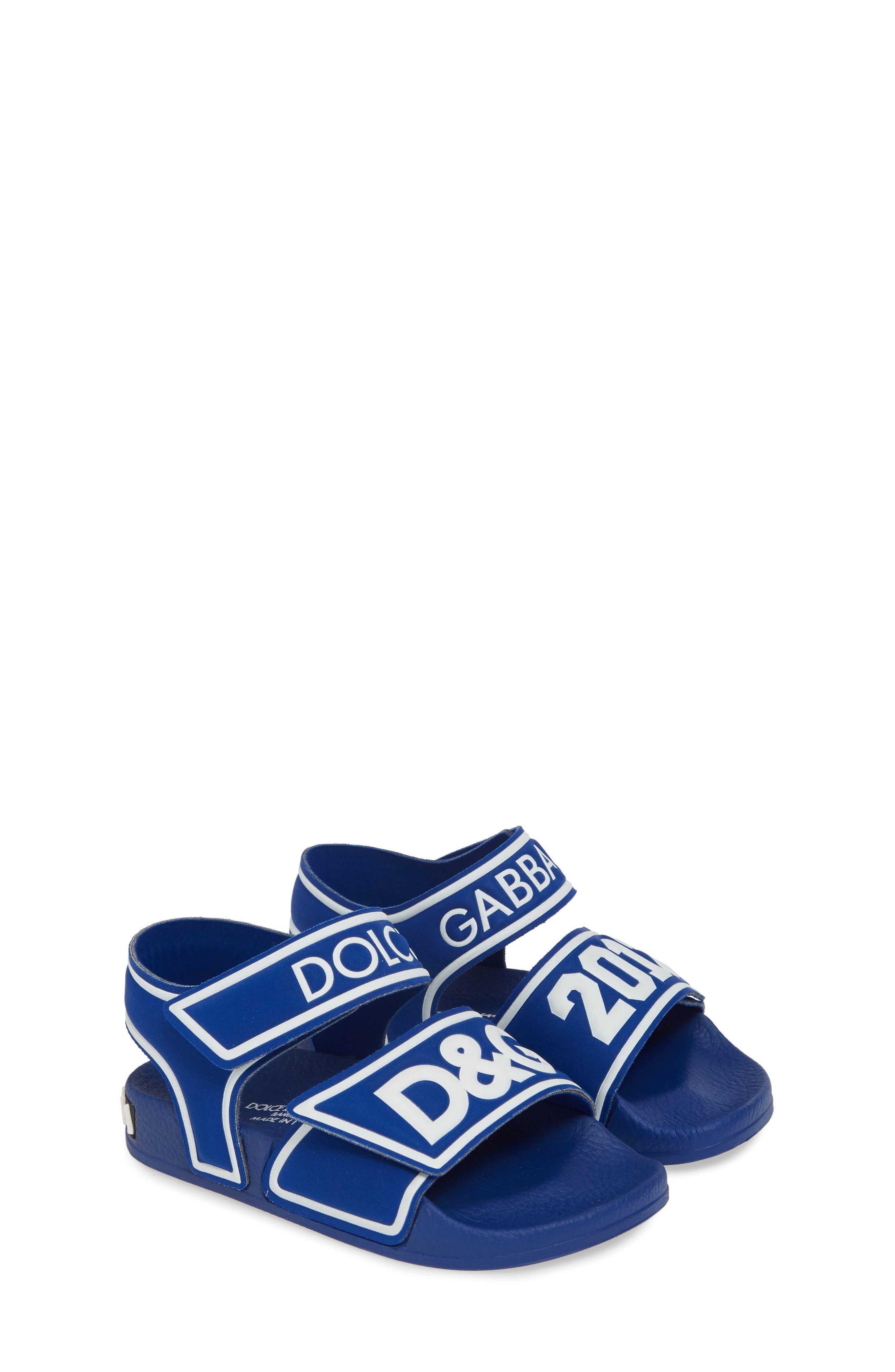 DOLCE&GABBANA, Jelly Fisherman Sandal, Alternate thumbnail 2, color, BLUE/ WHITE