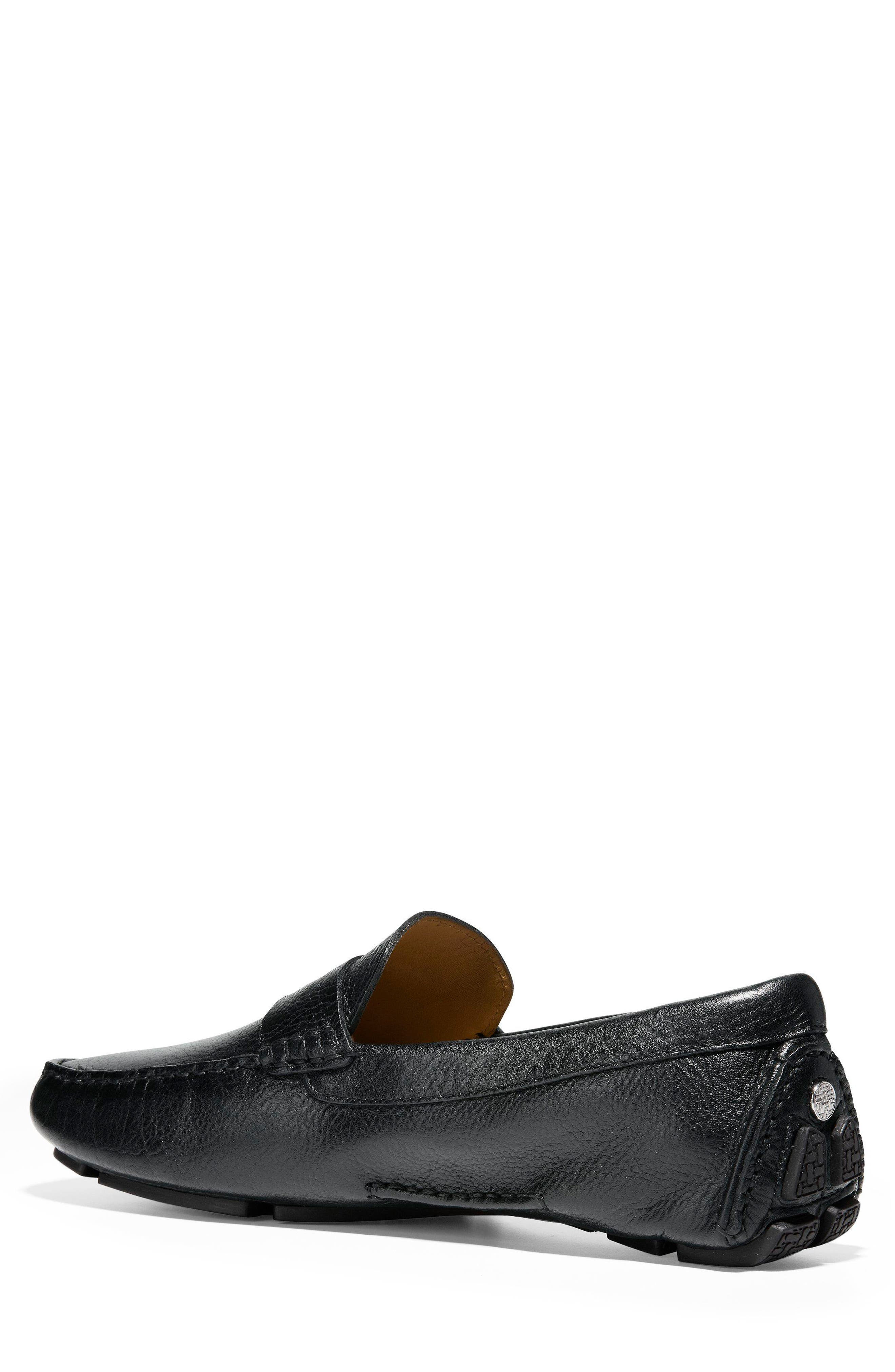 COLE HAAN, 'Howland' Penny Loafer, Alternate thumbnail 2, color, BLACK TUMBLED