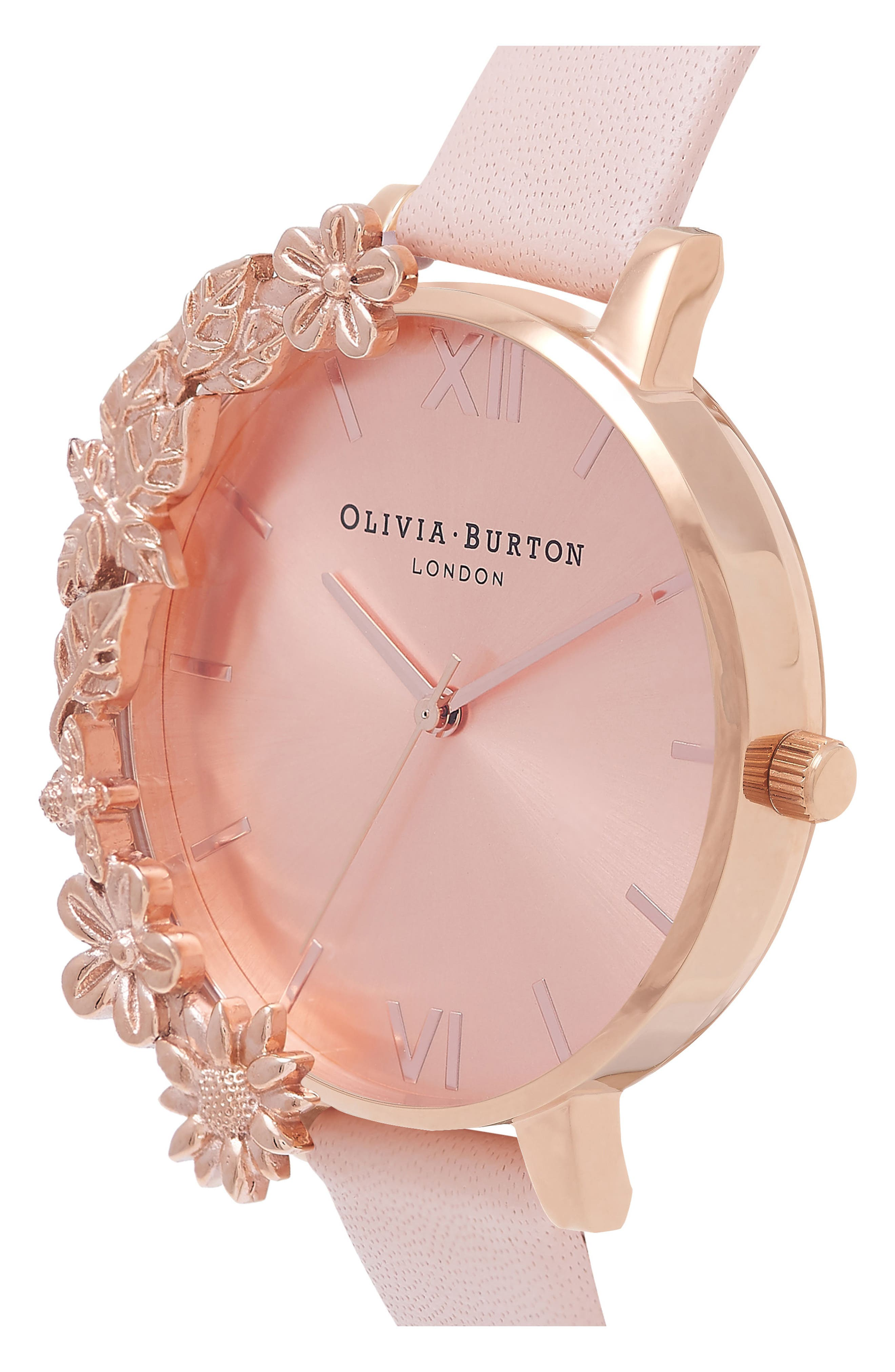 OLIVIA BURTON, Case Cuff Leather Strap Watch, 38mm, Alternate thumbnail 3, color, ROSE GOLD