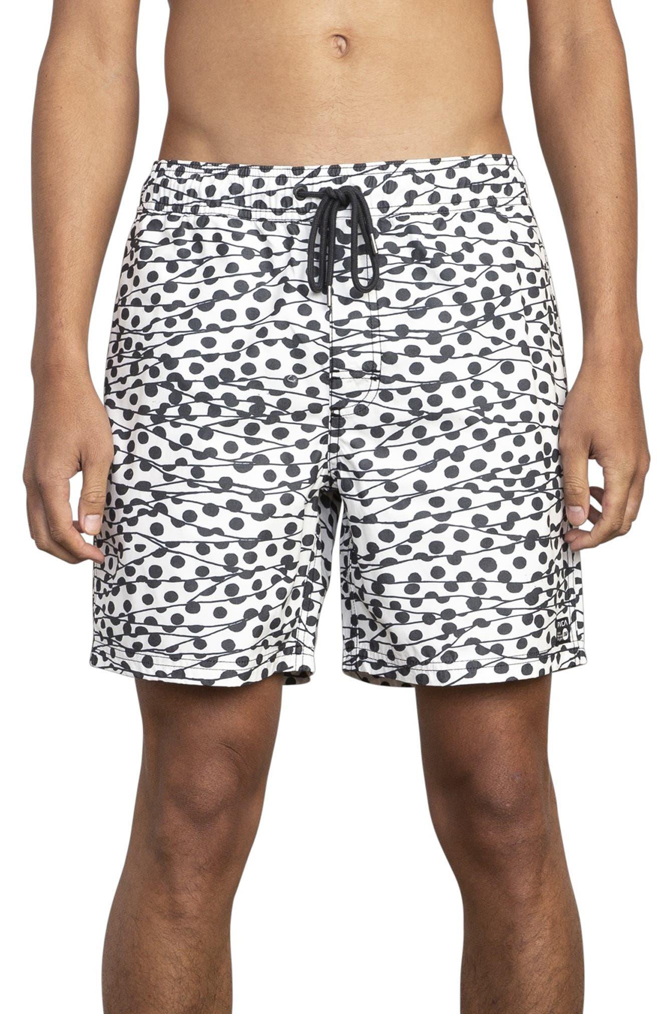 RVCA Gerrard Dots Swim Trunks, Main, color, WHITE