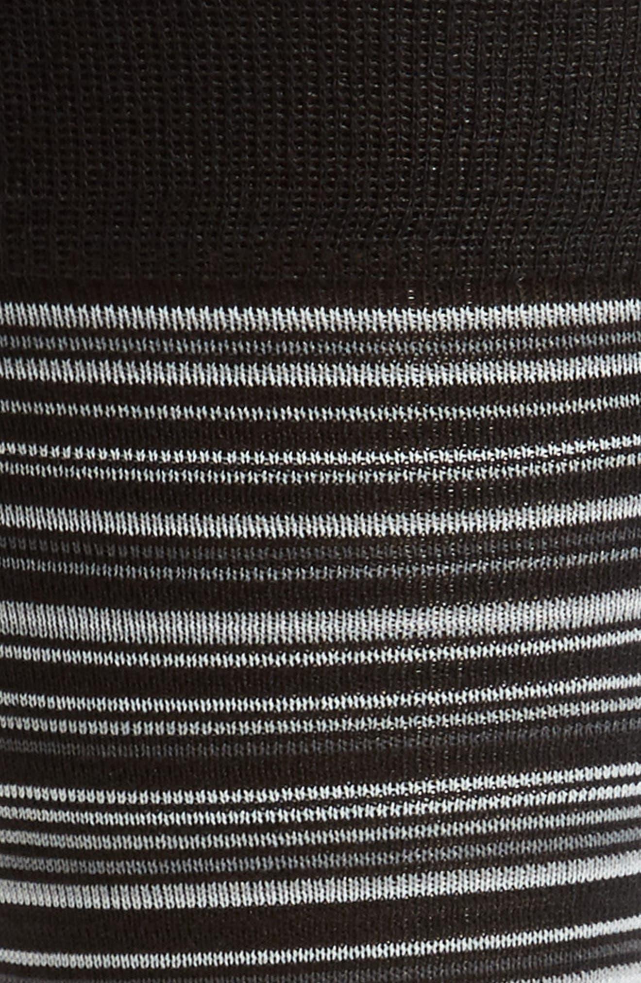 COLE HAAN, Multistripe Crew Socks, Alternate thumbnail 2, color, BLACK/ GREY