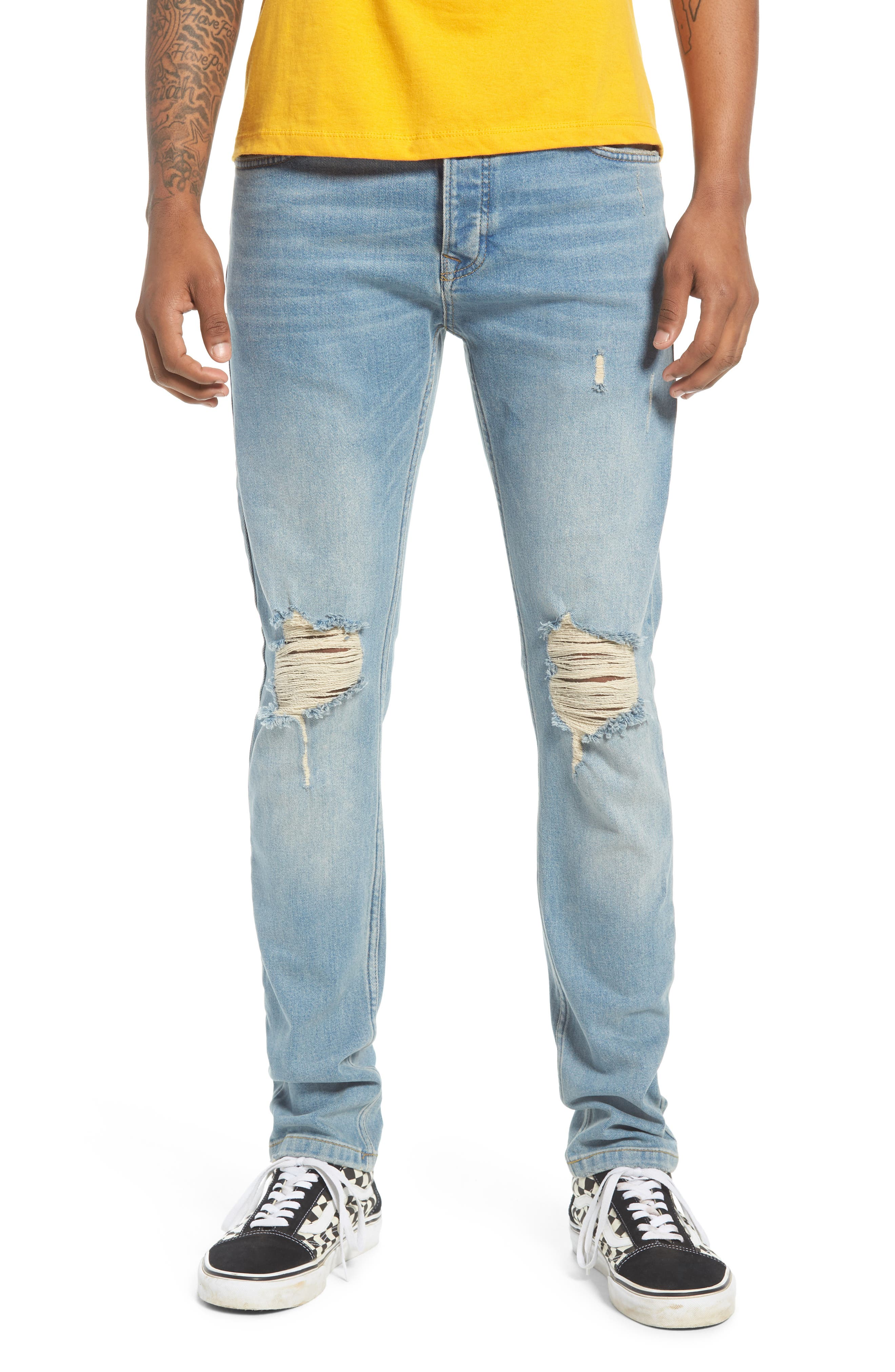 TOPMAN Ripped Stretch Skinny Jeans, Main, color, LIGHT WASH DENIM