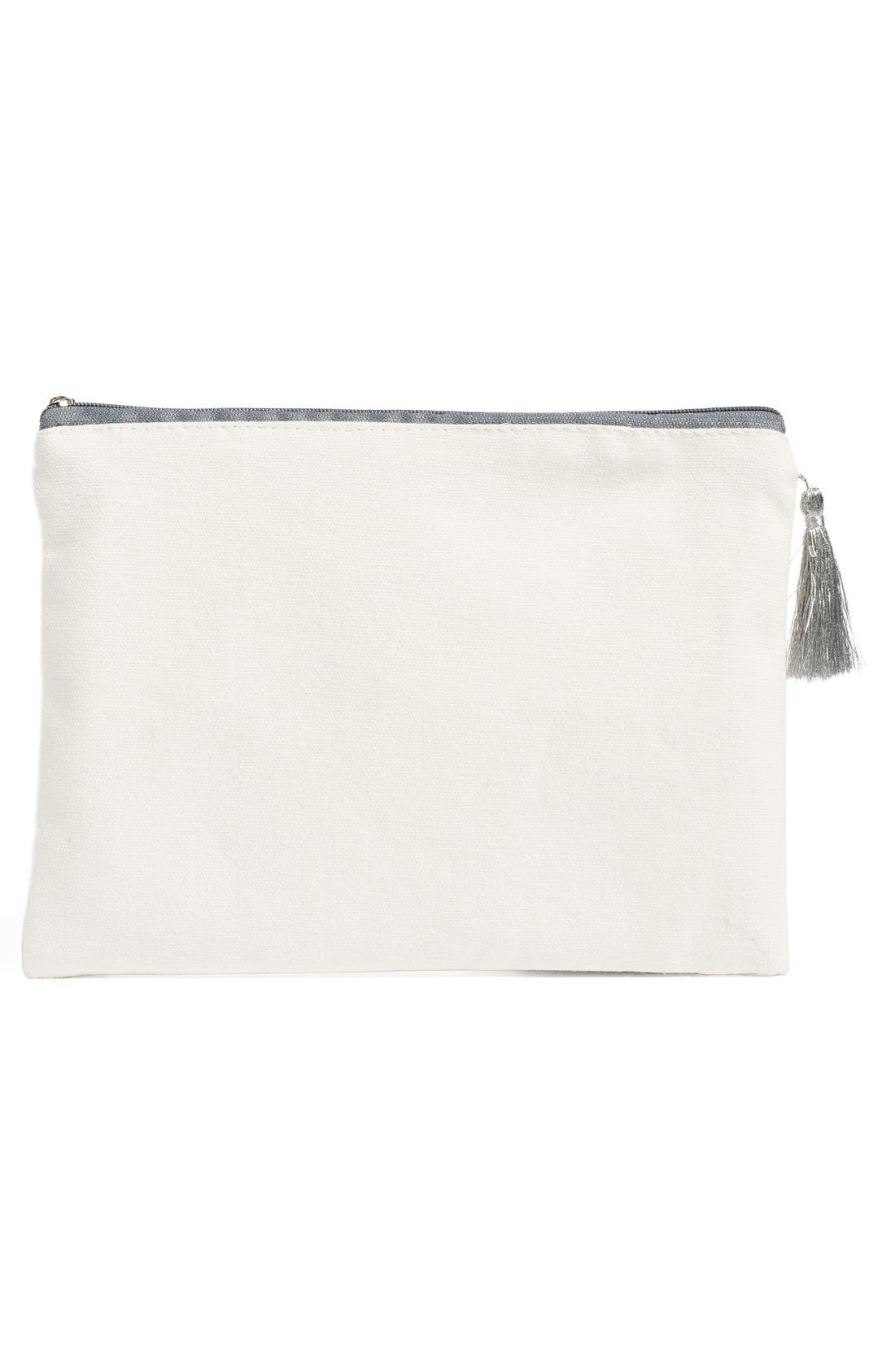 LEVTEX, 'I Glitterally Can't Even' Zip Top Pouch, Alternate thumbnail 3, color, 100