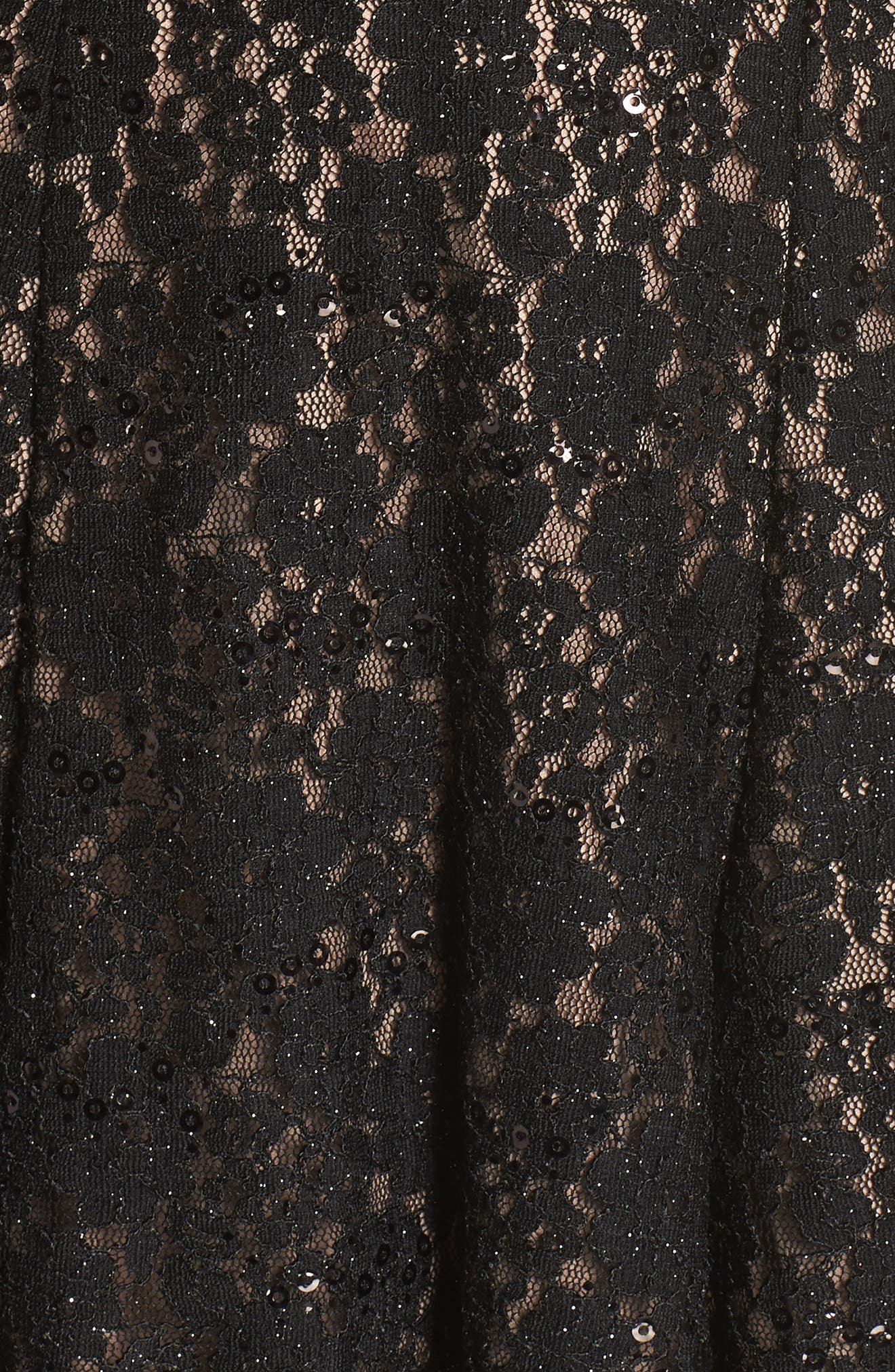 MORGAN & CO., Sheer Inset Lace Fit & Flare Dress, Alternate thumbnail 6, color, BLACK/ NUDE