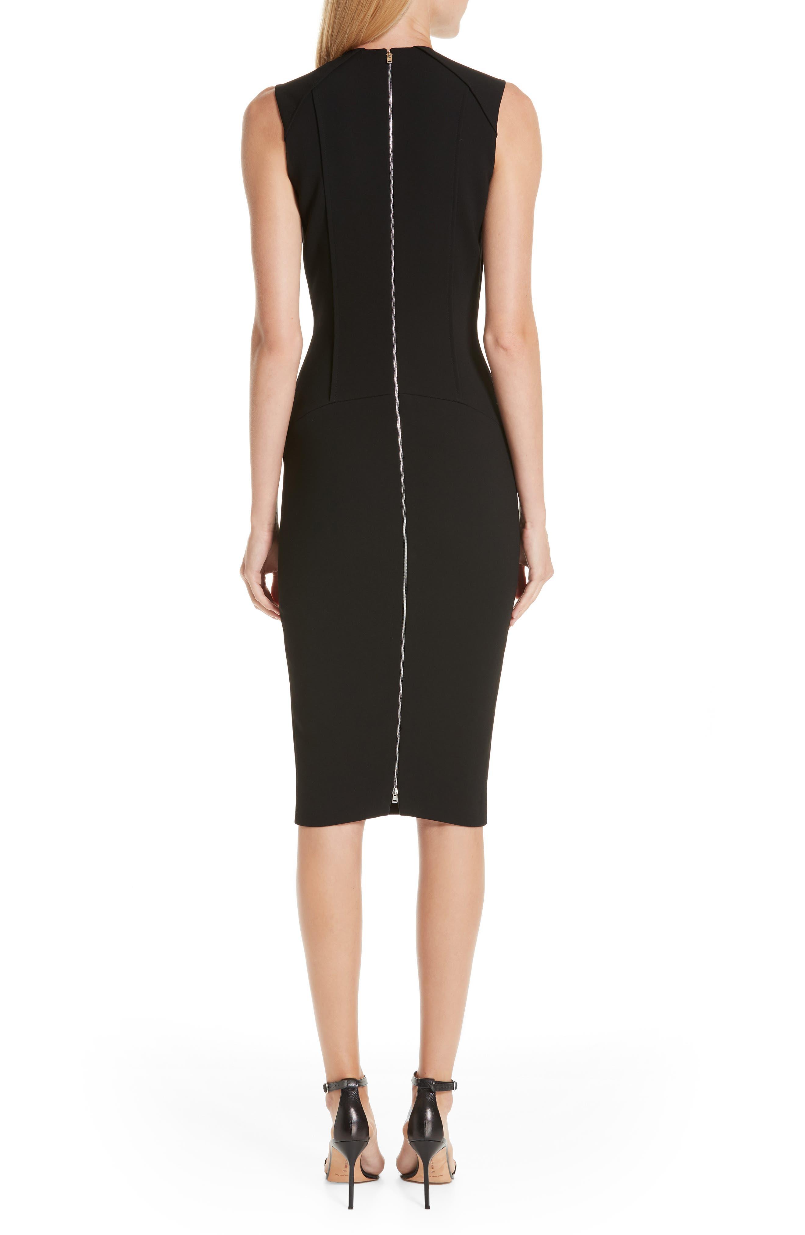 VICTORIA BECKHAM, Back Zip Body-Con Dress, Alternate thumbnail 2, color, BLACK