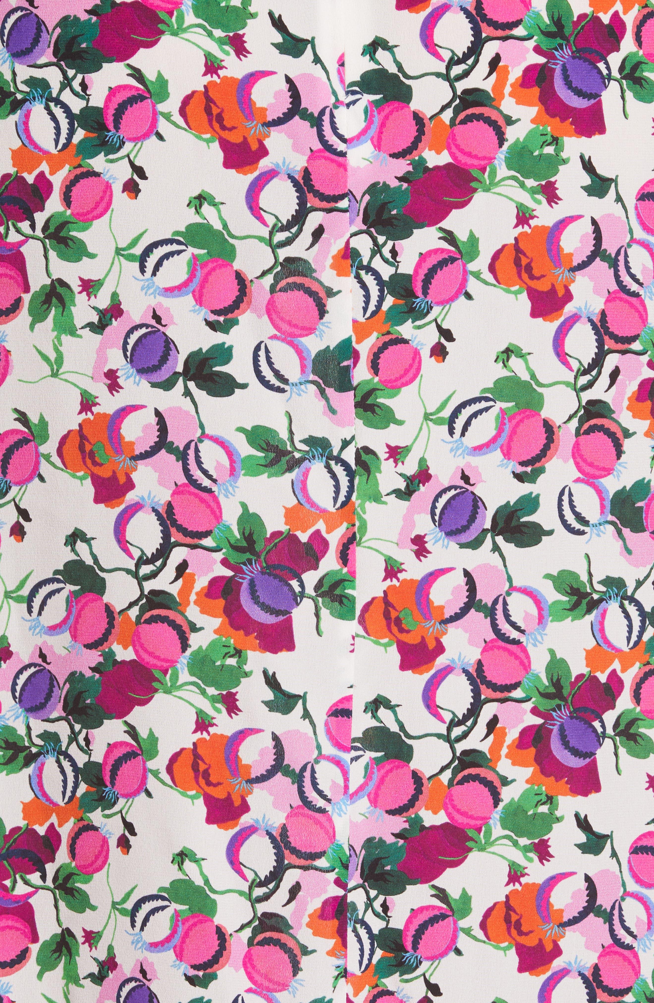 SALONI, Ani Floral Print Silk Camisole, Alternate thumbnail 5, color, ROSE BOUNTY