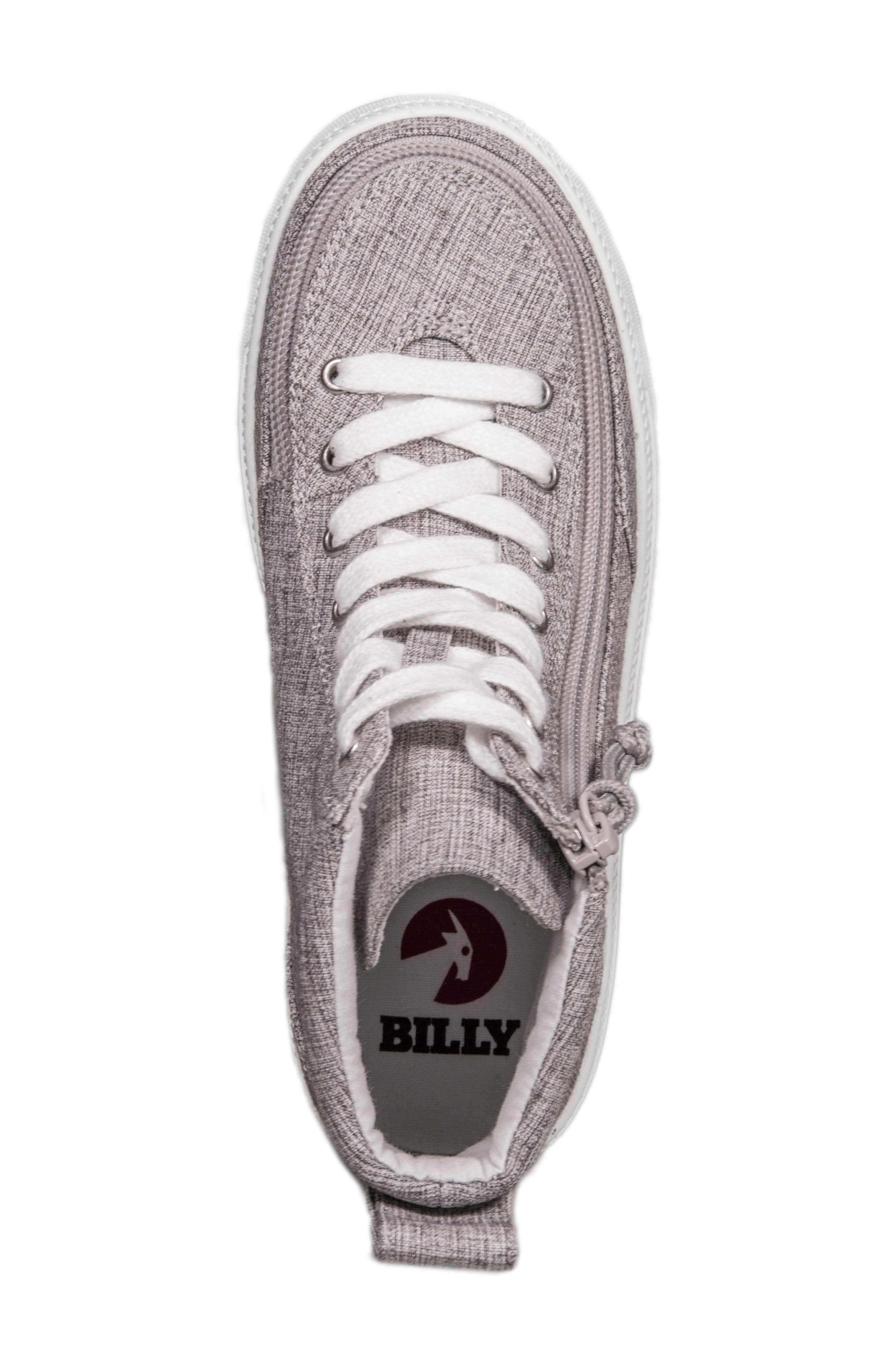 BILLY FOOTWEAR, Zip Around High Top Sneaker, Alternate thumbnail 4, color, GREY JERSEY
