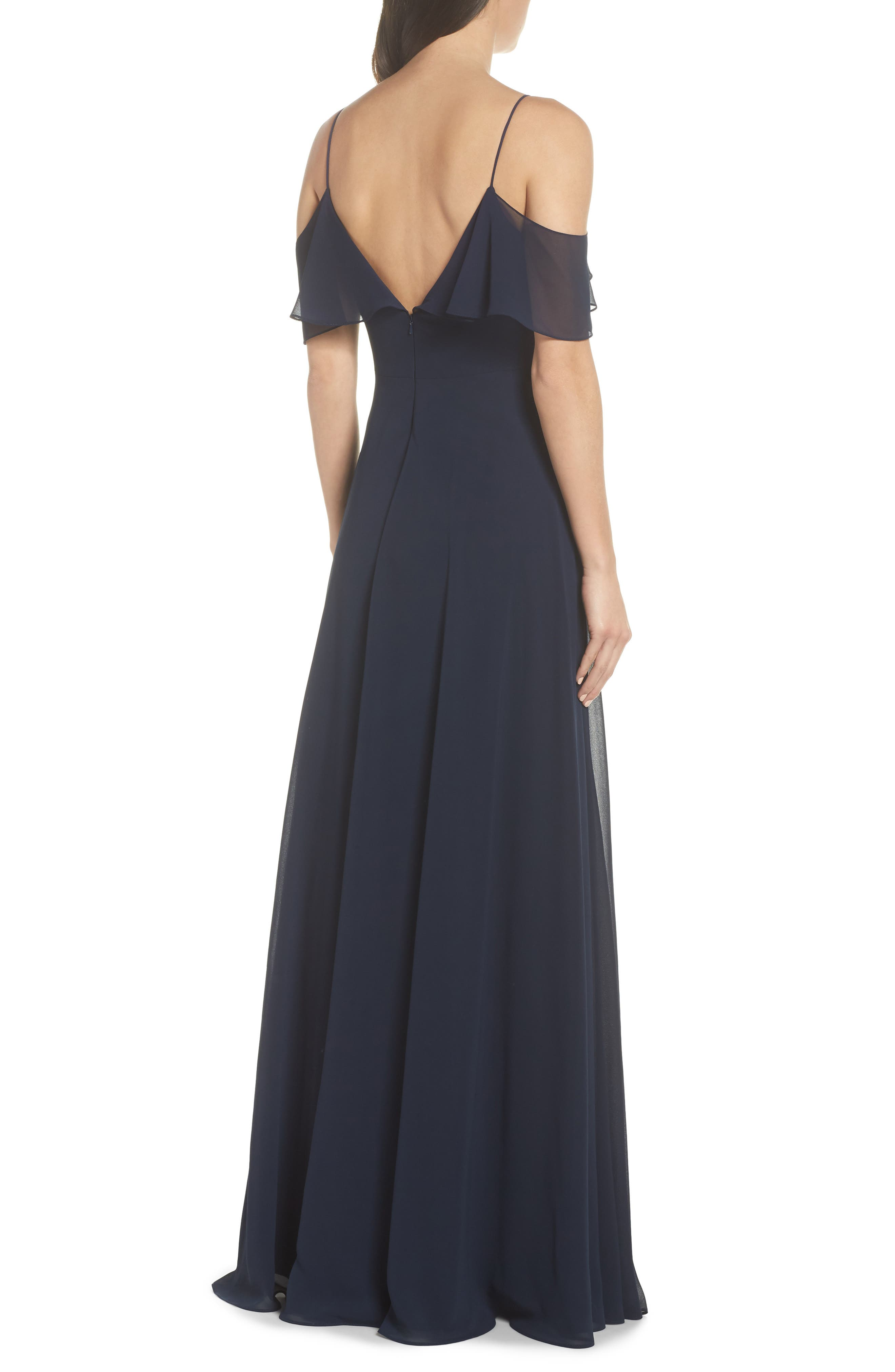 JENNY YOO, Cold Shoulder Chiffon Gown, Alternate thumbnail 2, color, NAVY