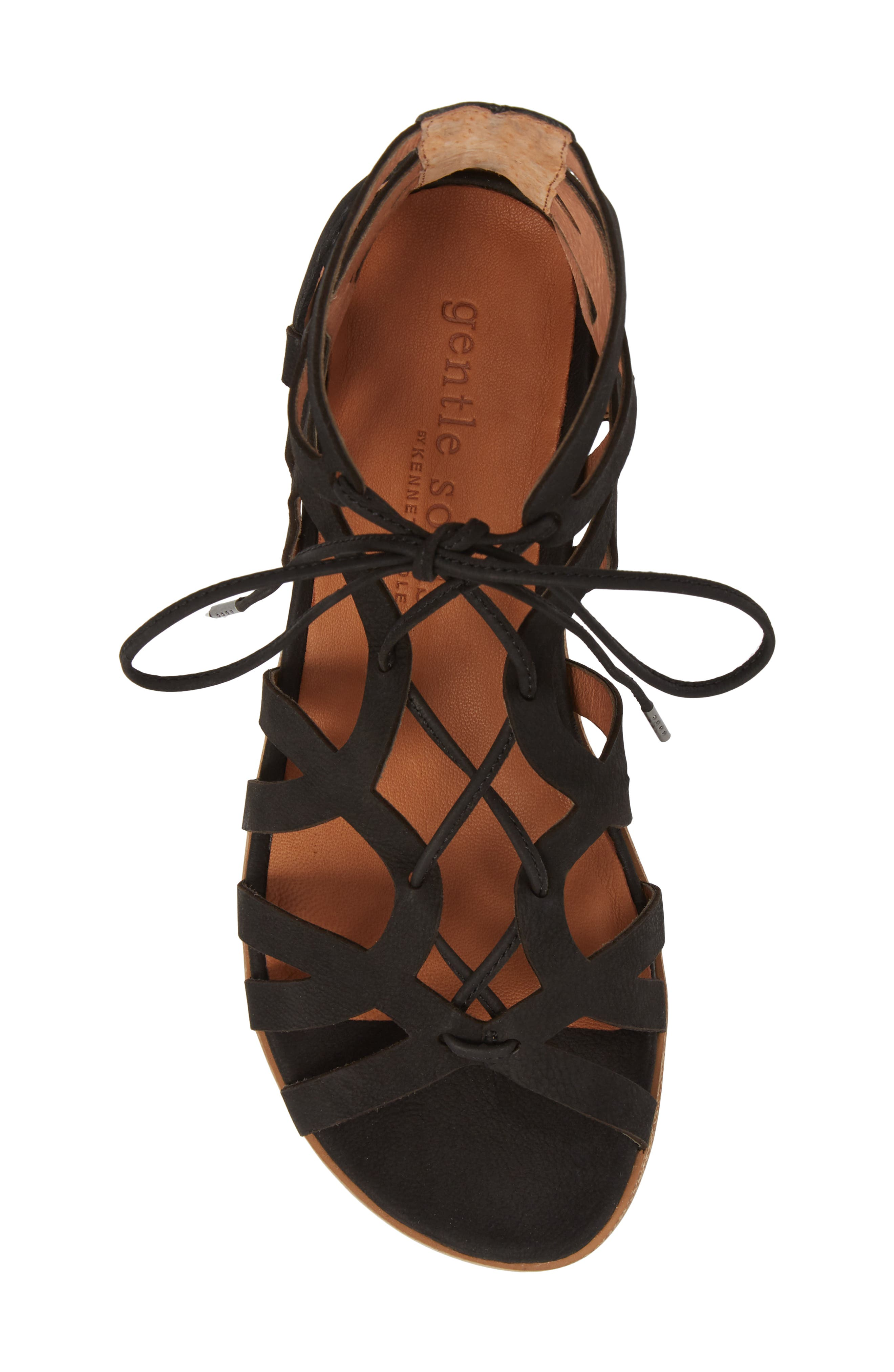 GENTLE SOULS BY KENNETH COLE, Larina Lace-Up Sandal, Alternate thumbnail 5, color, BLACK NUBUCK