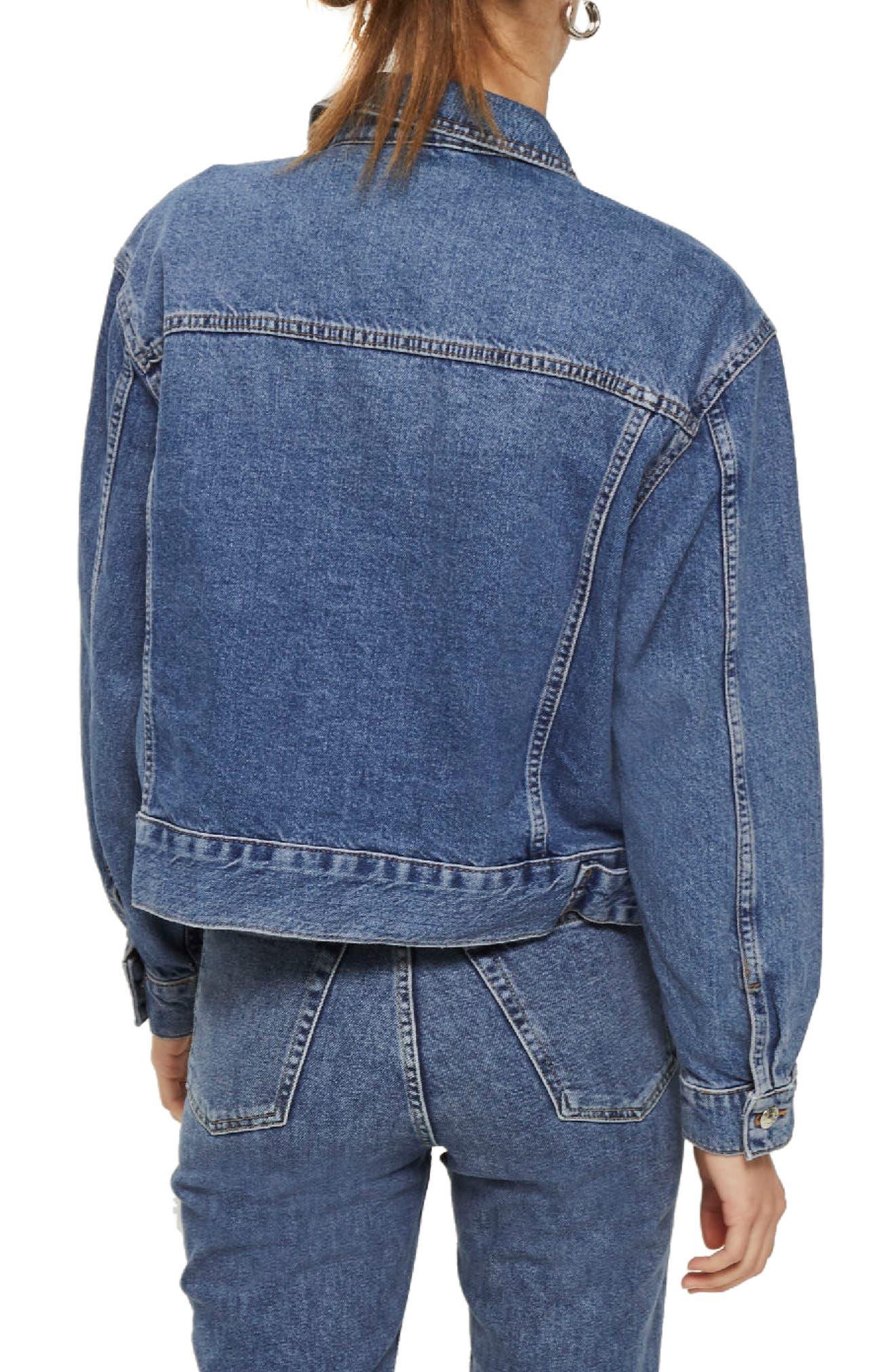 TOPSHOP, Boxy Crop Denim Jacket, Alternate thumbnail 2, color, MID DENIM