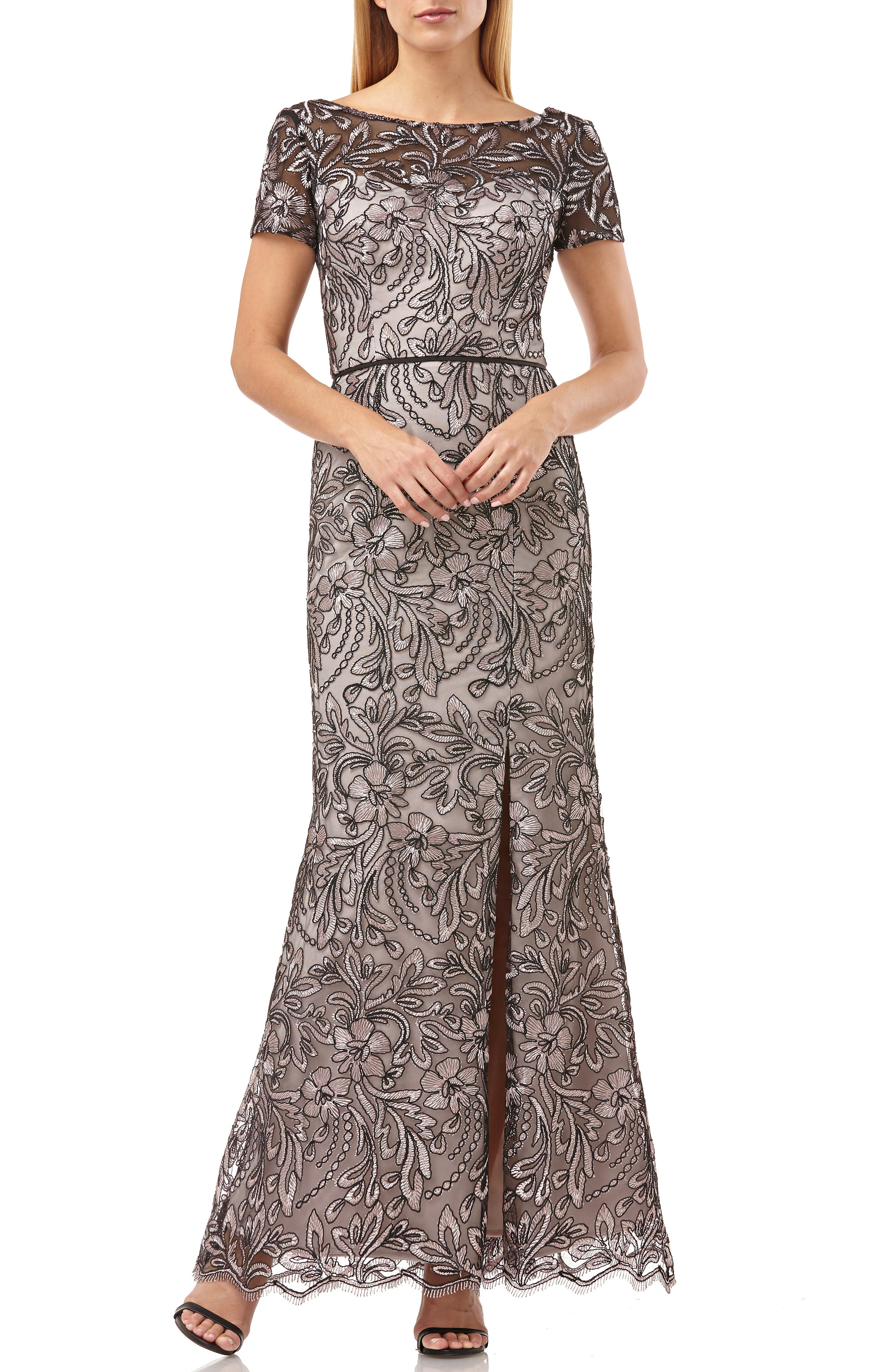 Js Collections Embroidered Trumpet Gown, Beige