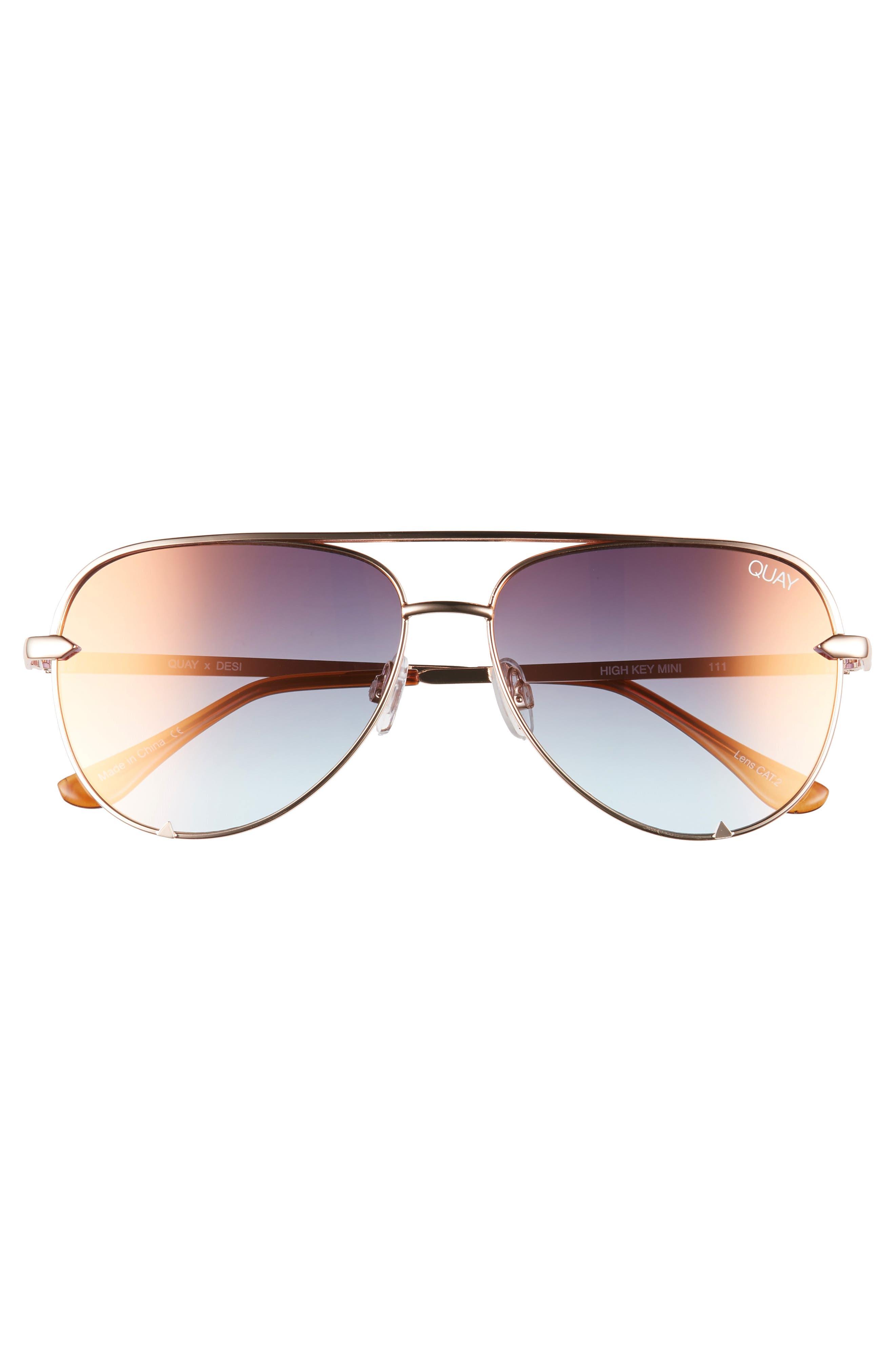 QUAY AUSTRALIA, x Desi Perkins High Key Mini 57mm Aviator Sunglasses, Alternate thumbnail 3, color, ROSE/ CPRFD