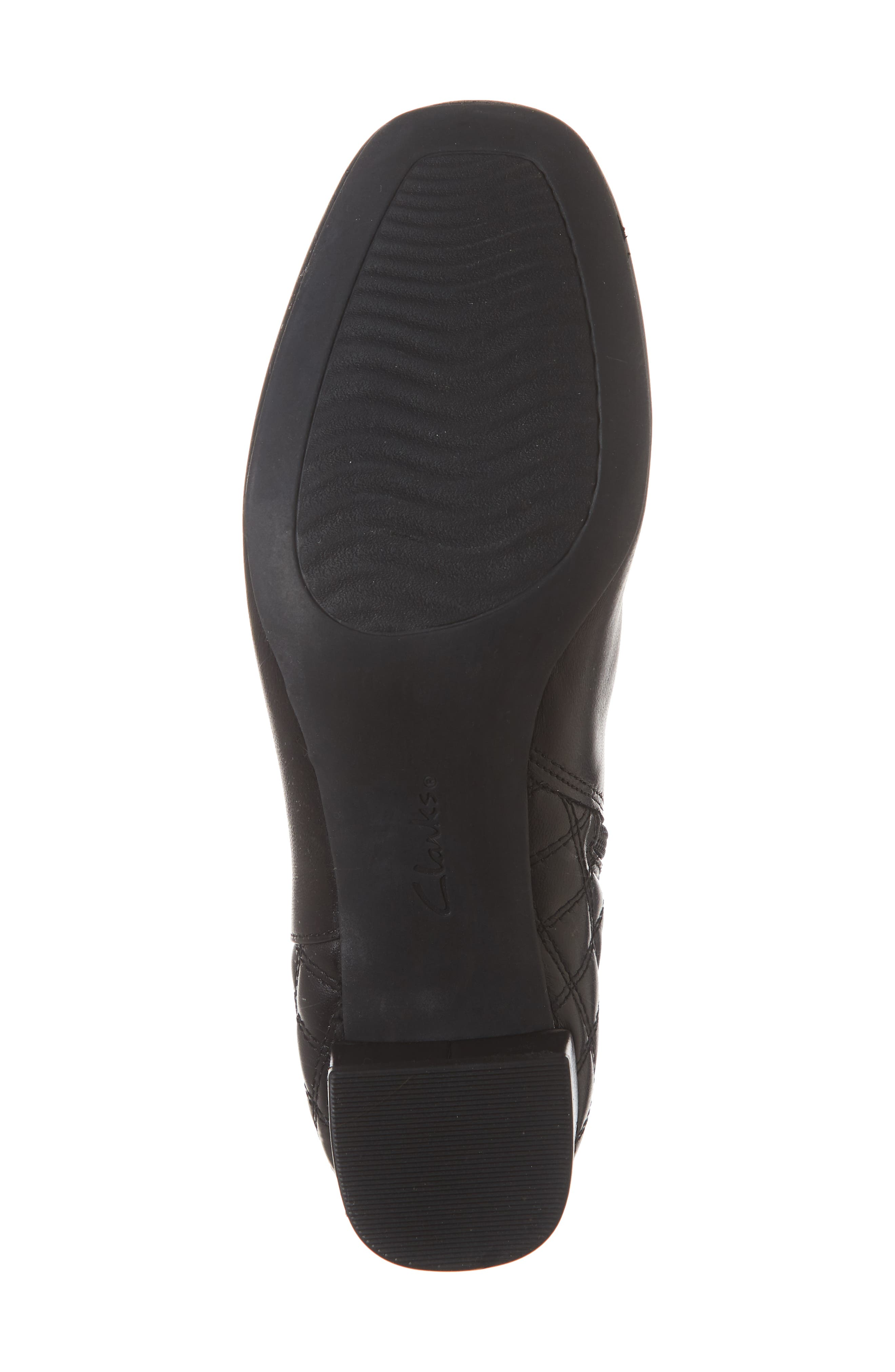 CLARKS<SUP>®</SUP>, Tealia Luck Bootie, Alternate thumbnail 6, color, BLACK LEATHER