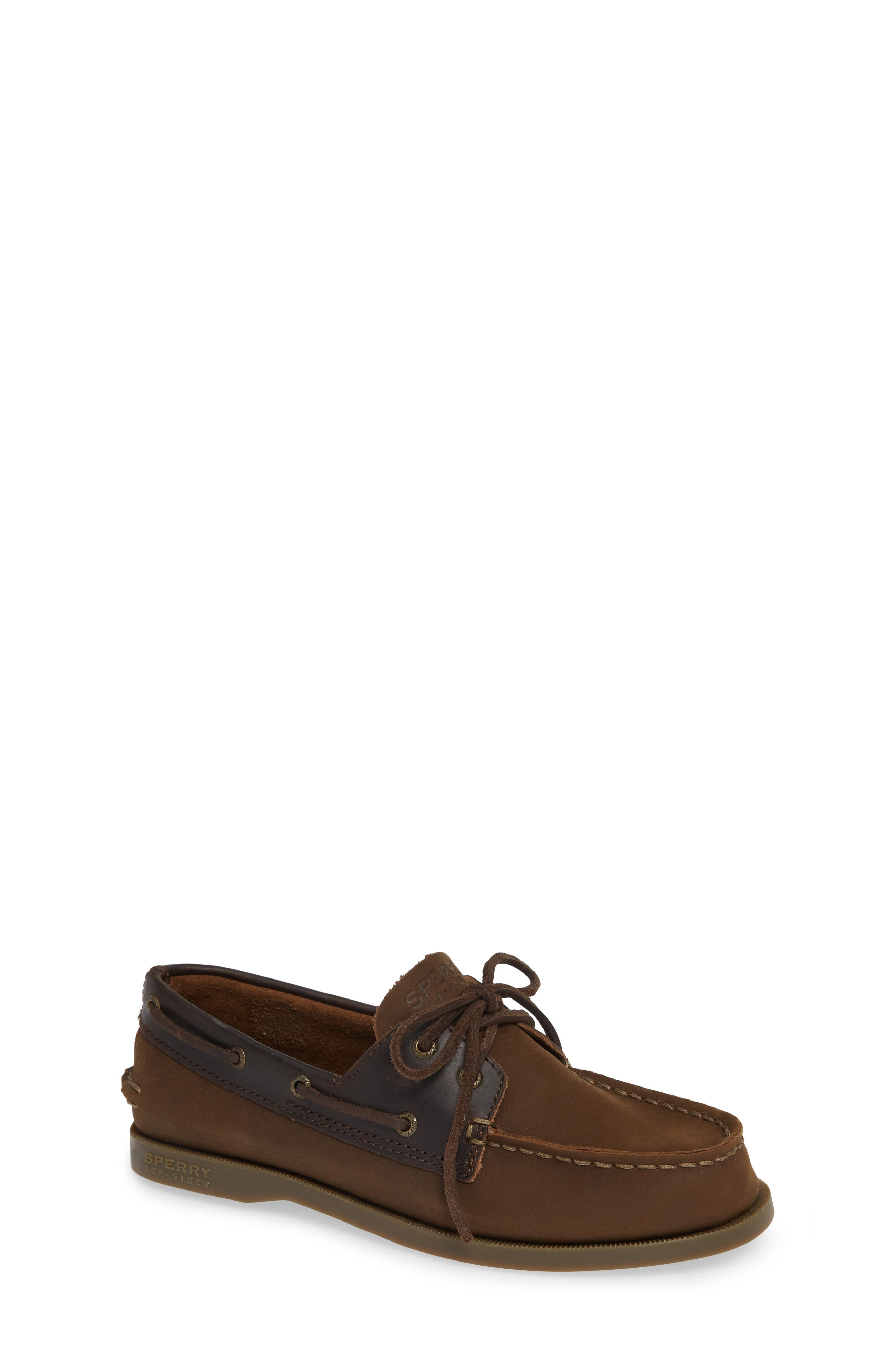 SPERRY KIDS, 'Authentic Original' Boat Shoe, Main thumbnail 1, color, BROWN BUCK LEATHER
