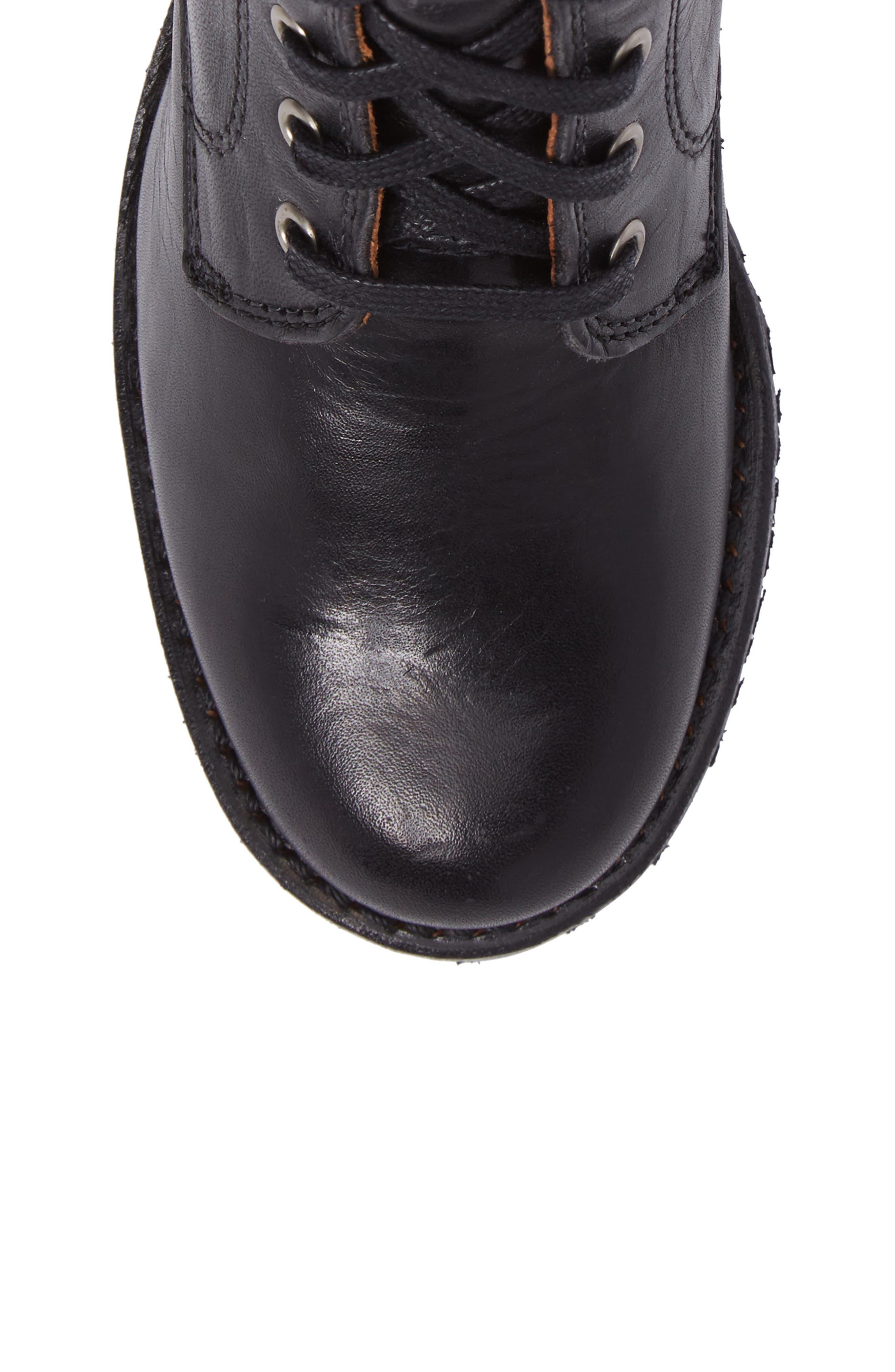 FRYE, Sabrina 6G Lace-Up Boot, Alternate thumbnail 5, color, BLACK