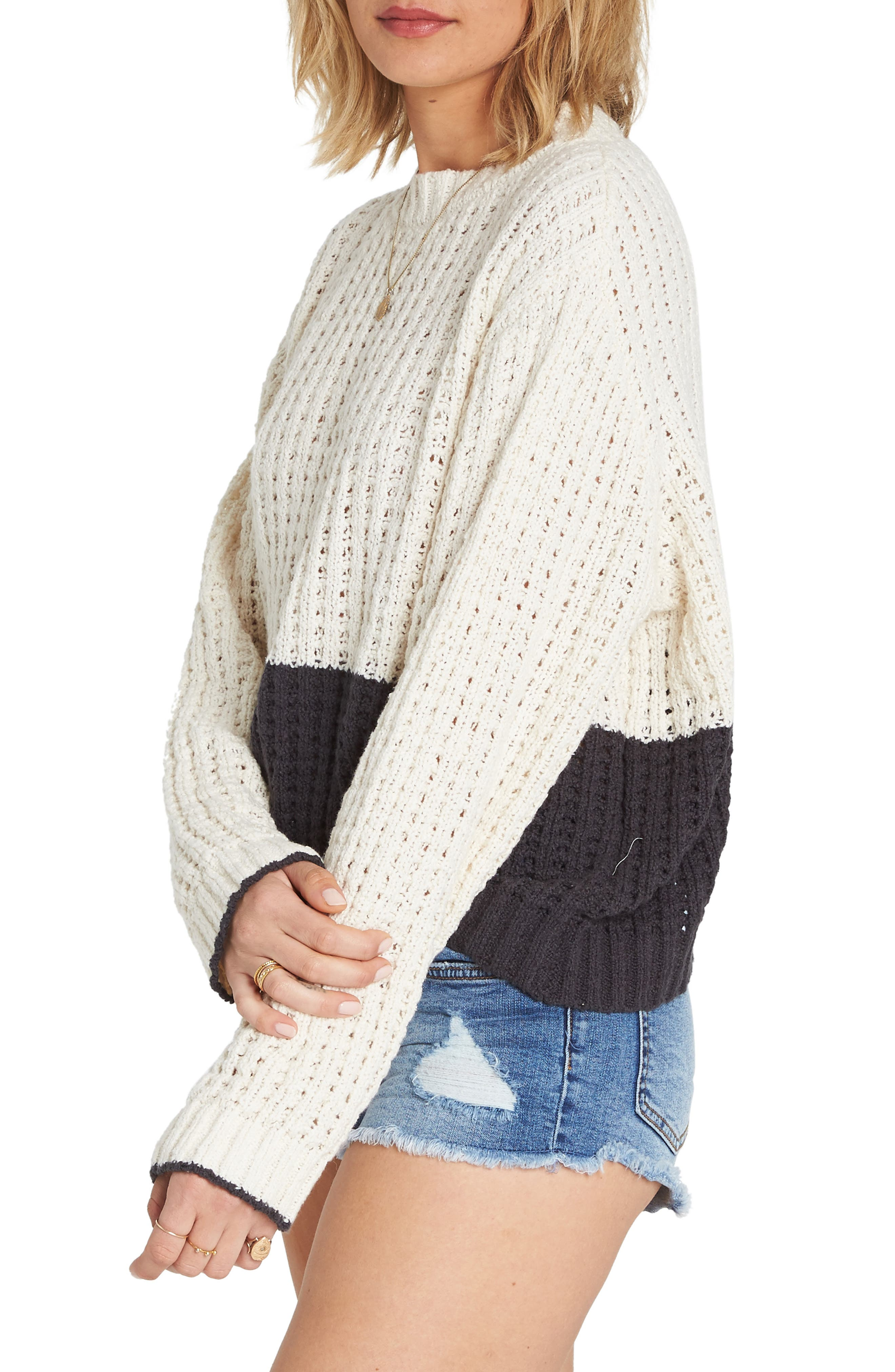 BILLABONG, Block Party Colorblock Sweater, Alternate thumbnail 3, color, 001