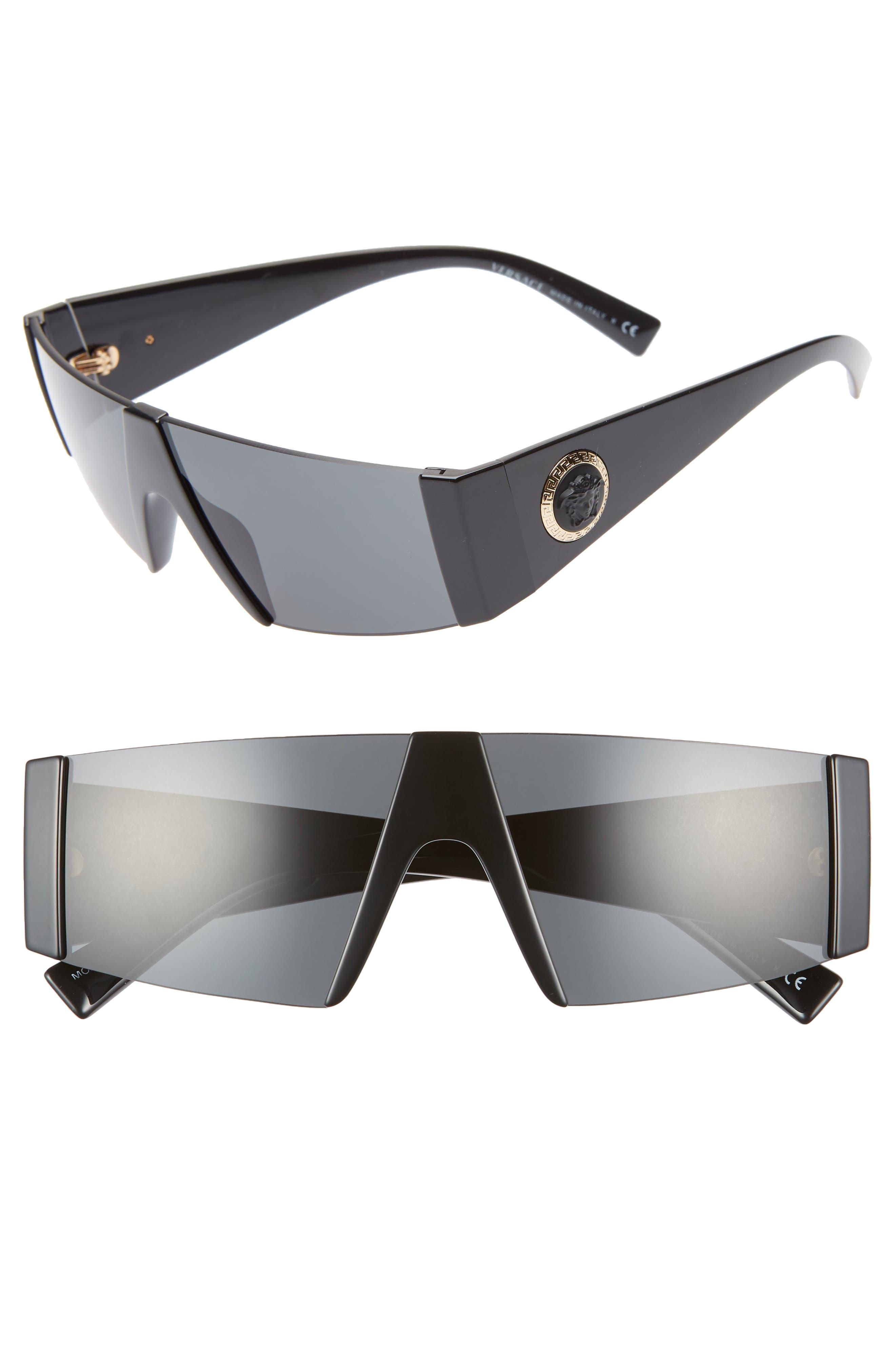 VERSACE 55mm Shield Sunglasses, Main, color, BLACK