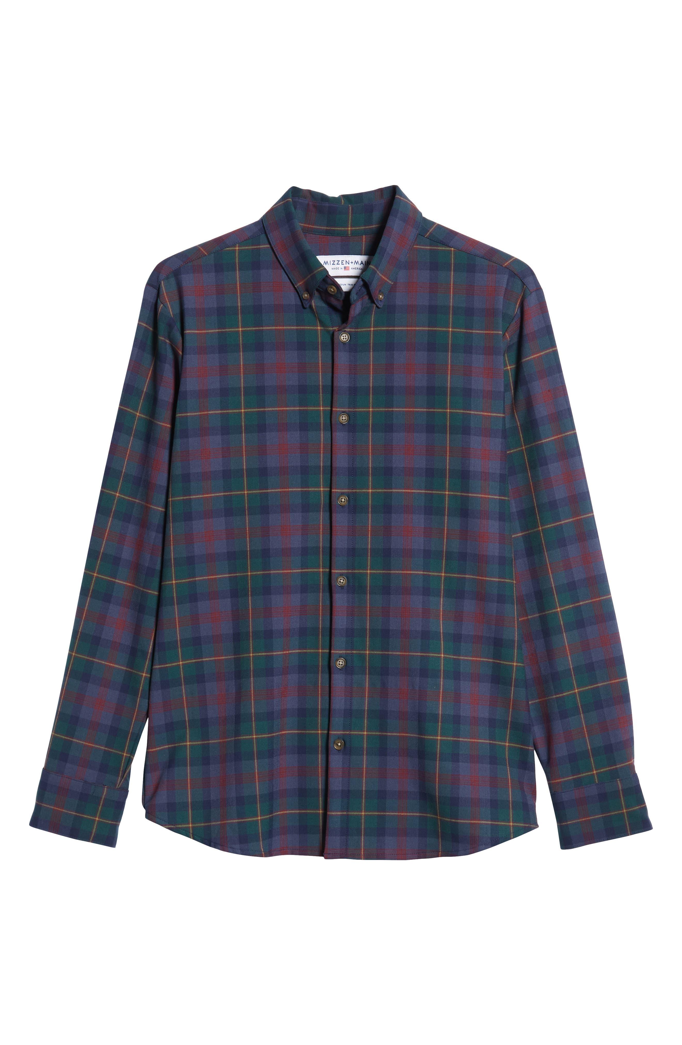 MIZZEN+MAIN, Yukon Trim Fit Flannel Performance Sport Shirt, Alternate thumbnail 5, color, GREEN