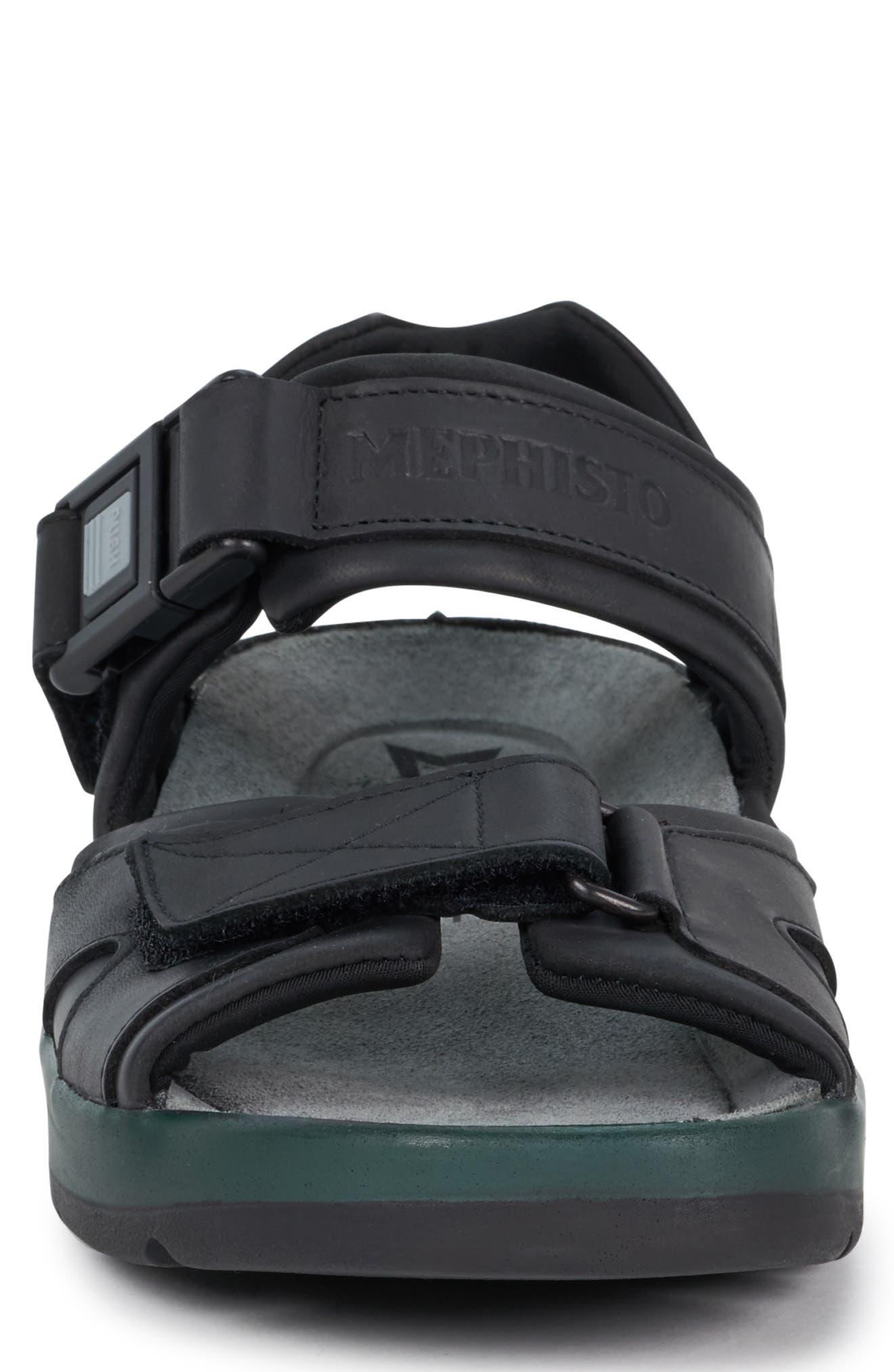 MEPHISTO, 'Shark' Sandal, Alternate thumbnail 4, color, BLACK WAXED LEATHER