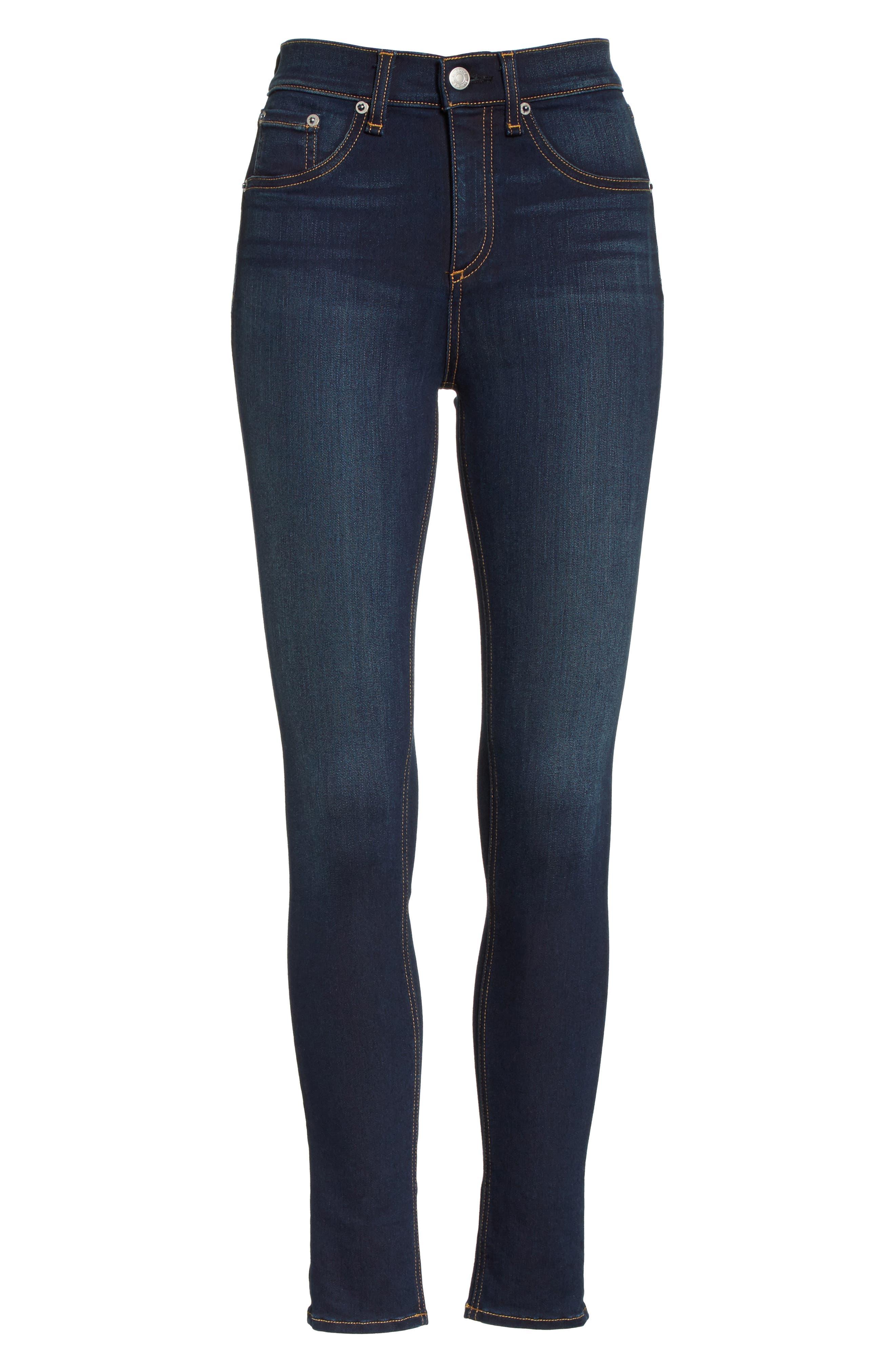 RAG & BONE, High Waist Ankle Skinny Jeans, Alternate thumbnail 7, color, BEDFORD