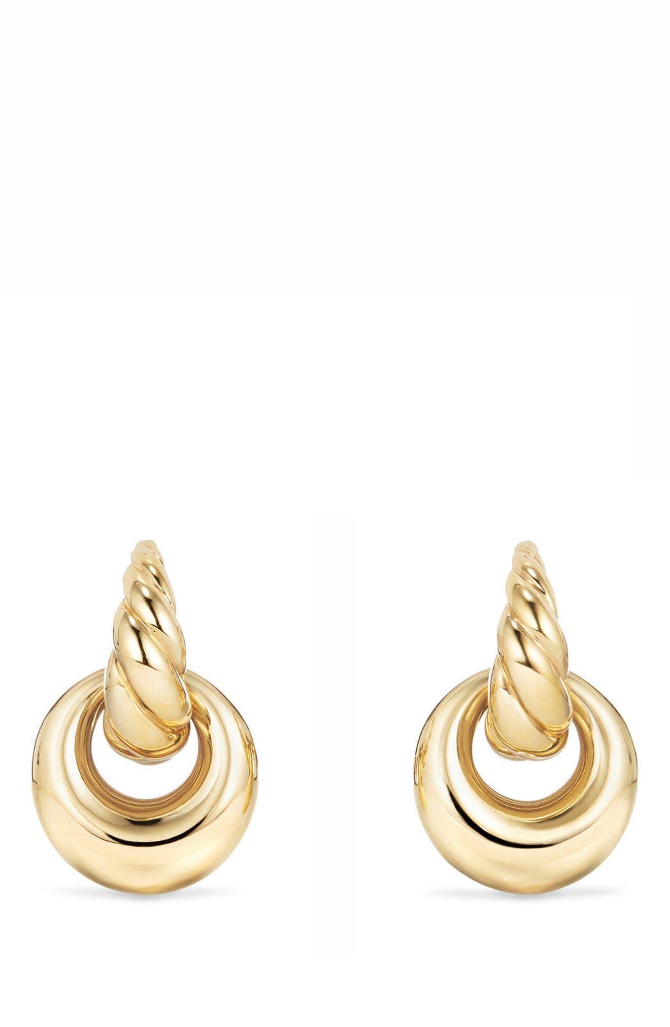 DAVID YURMAN, Pure Form<sup>®</sup> Drop Earrings in 18K Yellow Gold, Main thumbnail 1, color, YELLOW GOLD
