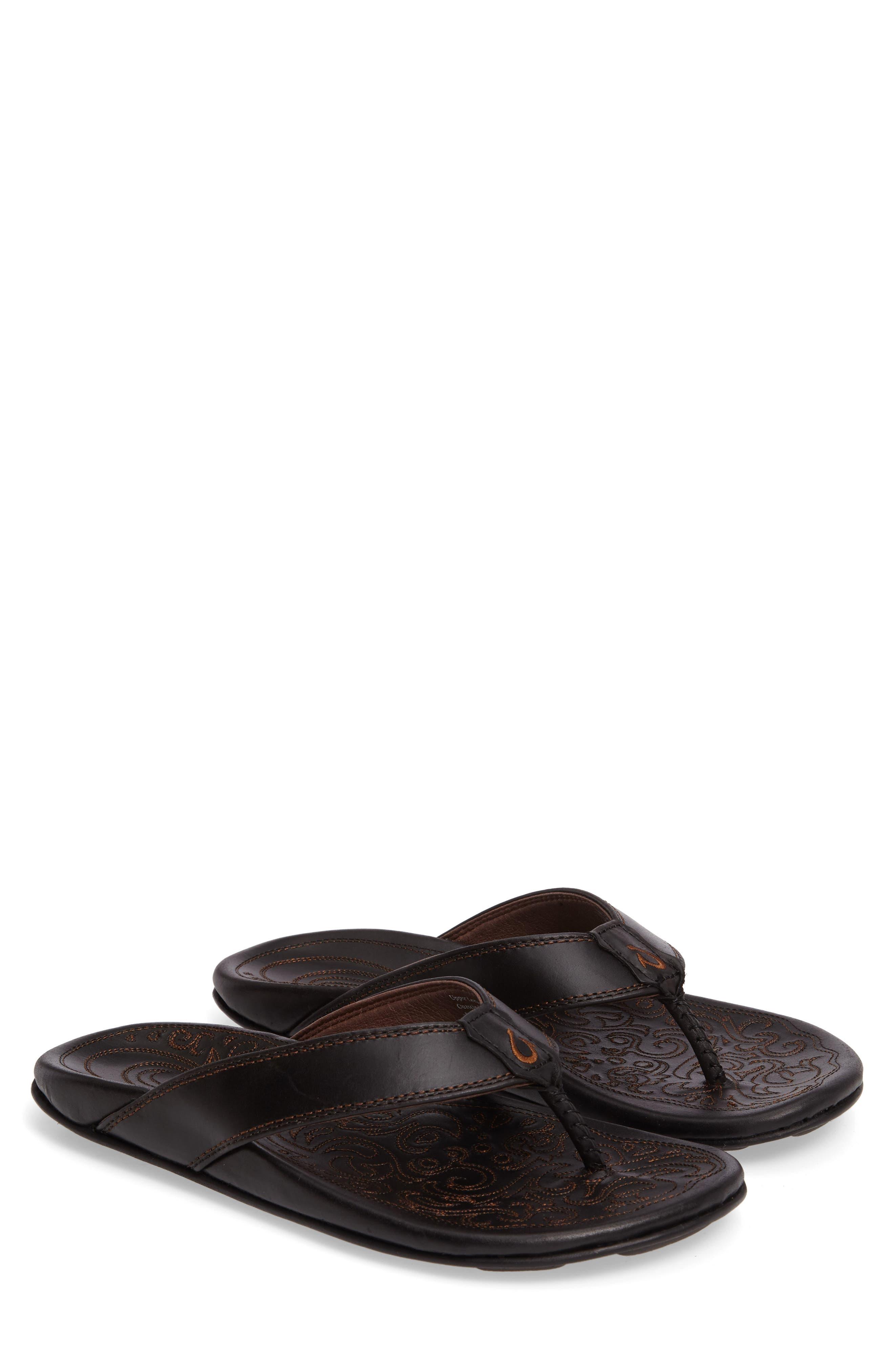 OLUKAI Waimea Flip Flop, Main, color, BLACK/ BLACK LEATHER