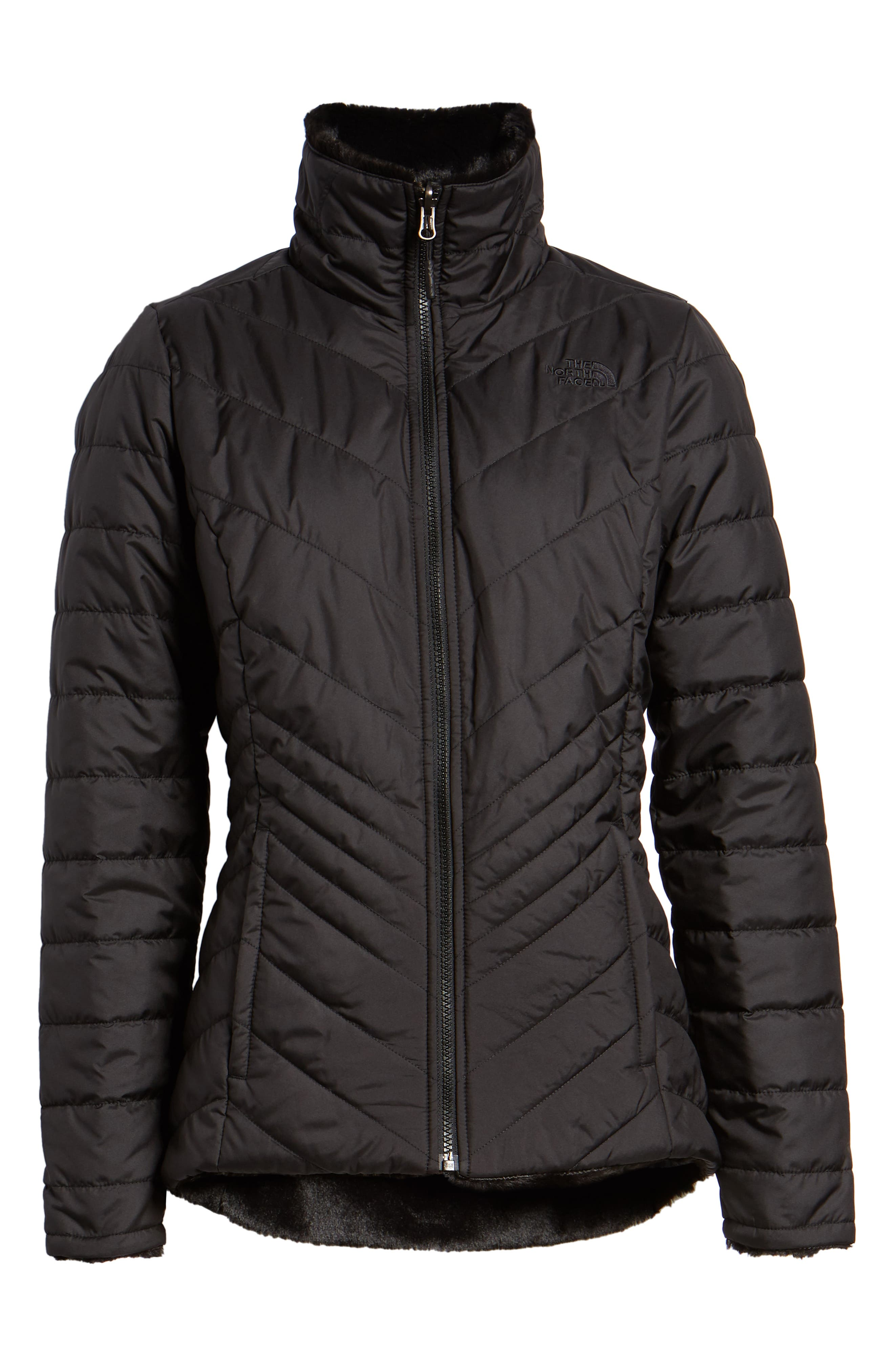 THE NORTH FACE, Mossbud Reversible Heatseeker<sup>™</sup> Wind Resistant Jacket, Alternate thumbnail 6, color, TNF BLACK