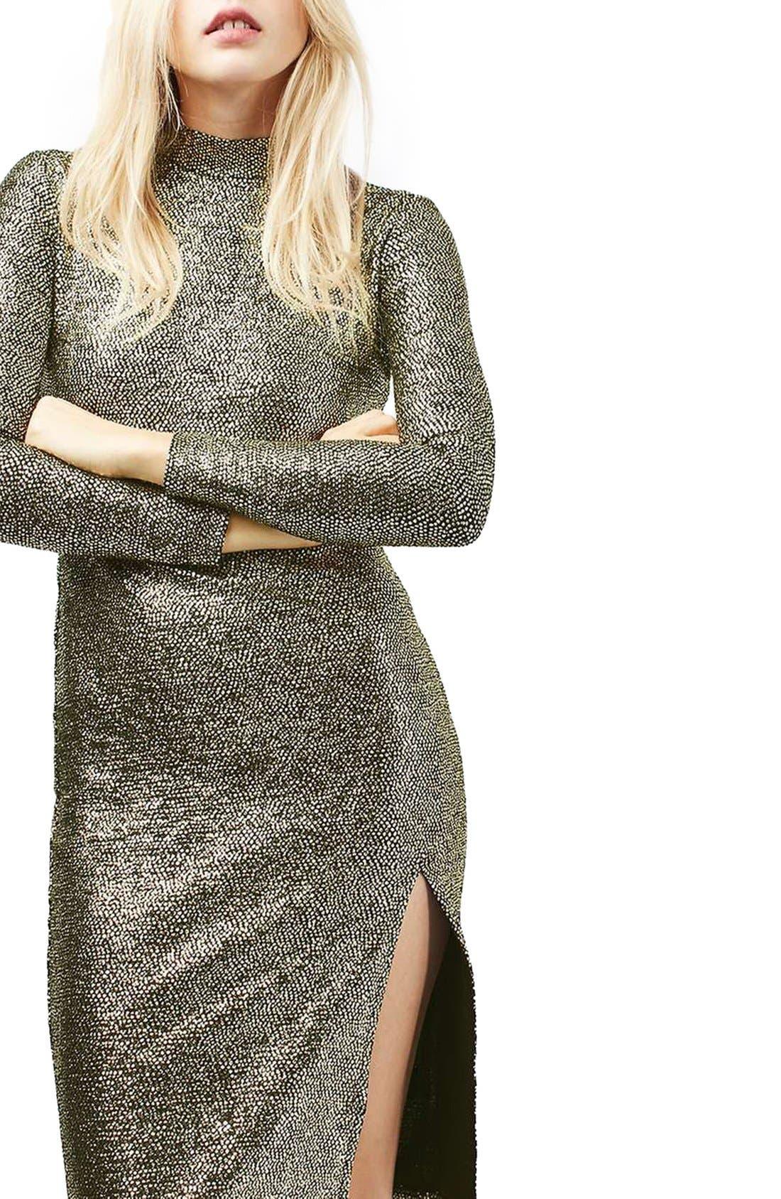 TOPSHOP, Foil Spot Midi Dress, Alternate thumbnail 4, color, 710