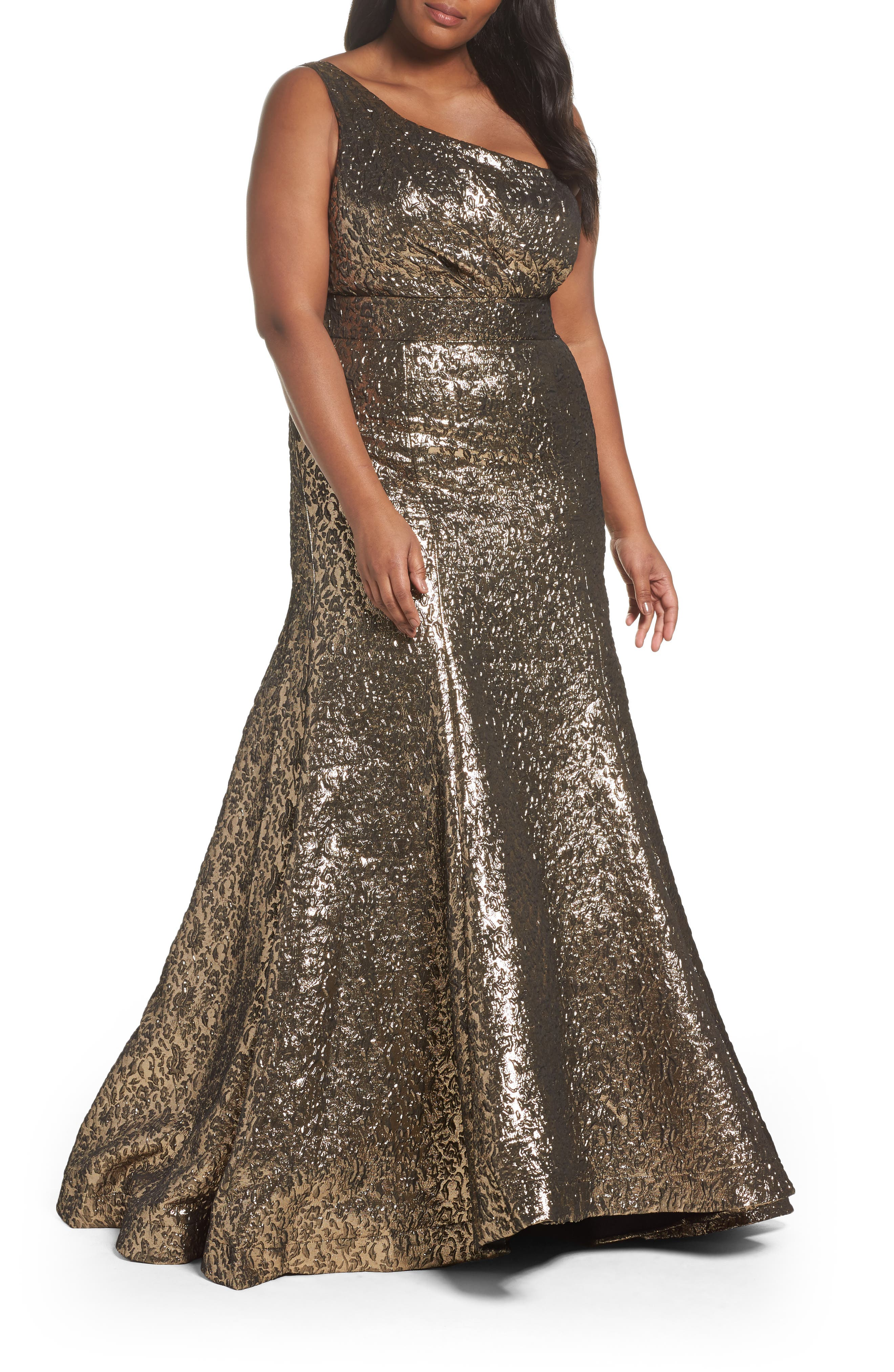 Plus Size MAC Duggal One-Shoulder Metallic Ballgown