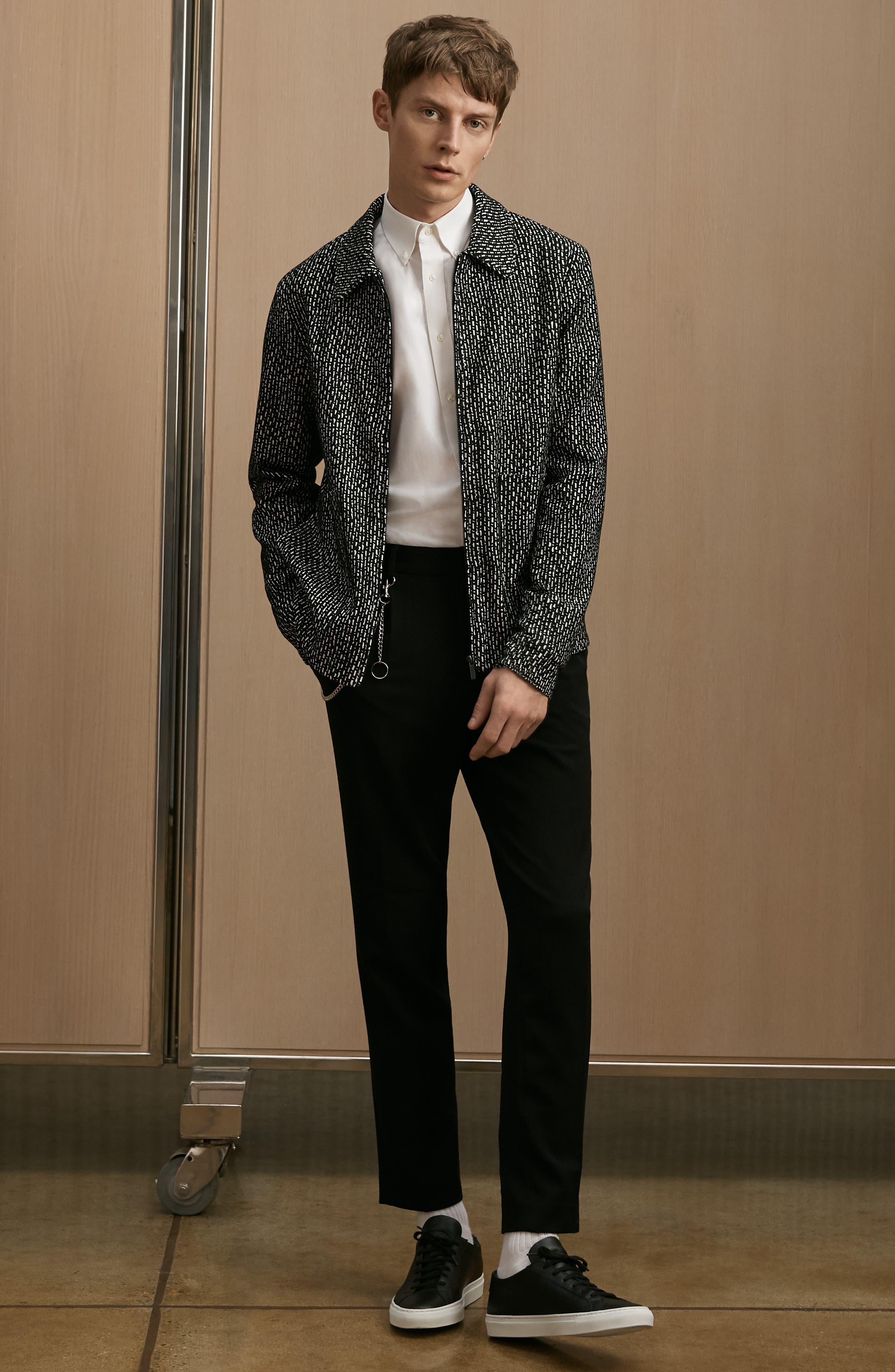 THEORY, 'Sylvain' Trim Fit Long Sleeve Sport Shirt, Alternate thumbnail 7, color, BLACK