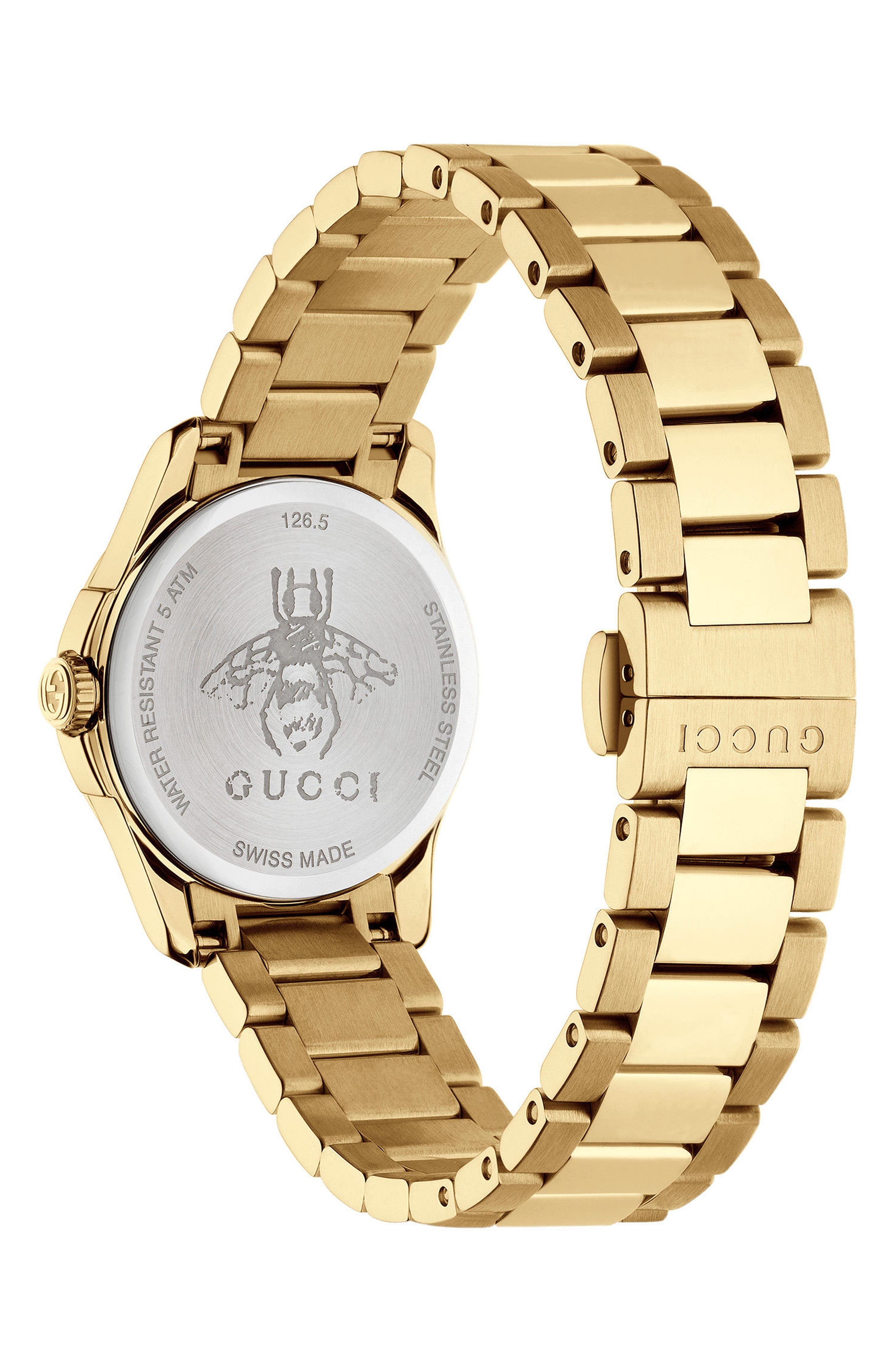 GUCCI, G-Timeless Bracelet Watch, 27mm, Alternate thumbnail 2, color, GOLD/ SILVER/ GOLD