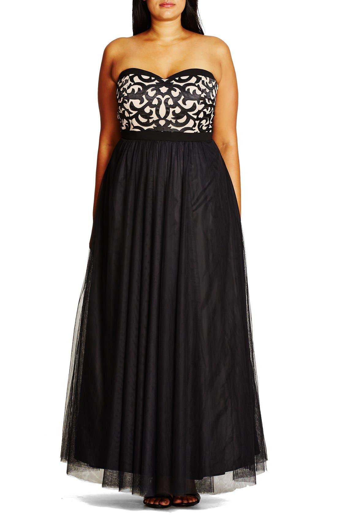 CITY CHIC, 'It Girl' Maxi Dress, Alternate thumbnail 6, color, BLACK