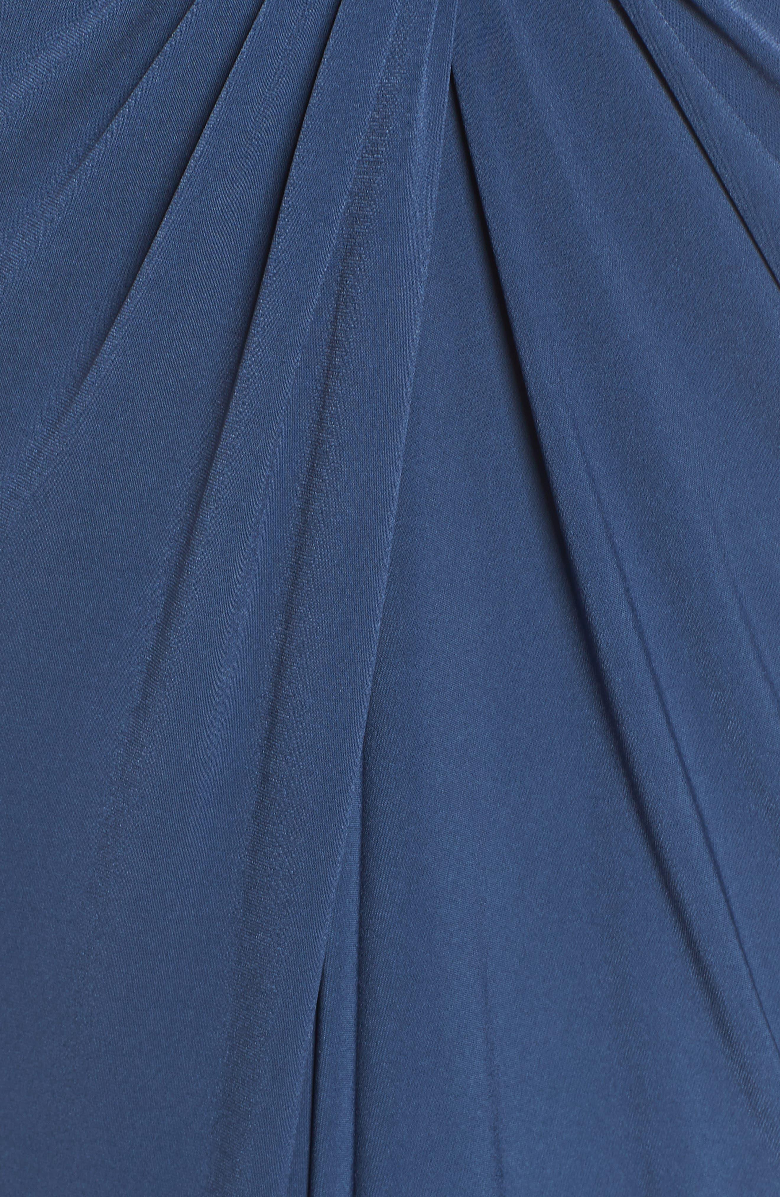 KATIE MAY, Leo Twist Front Evening Dress, Alternate thumbnail 6, color, DEEP SEA