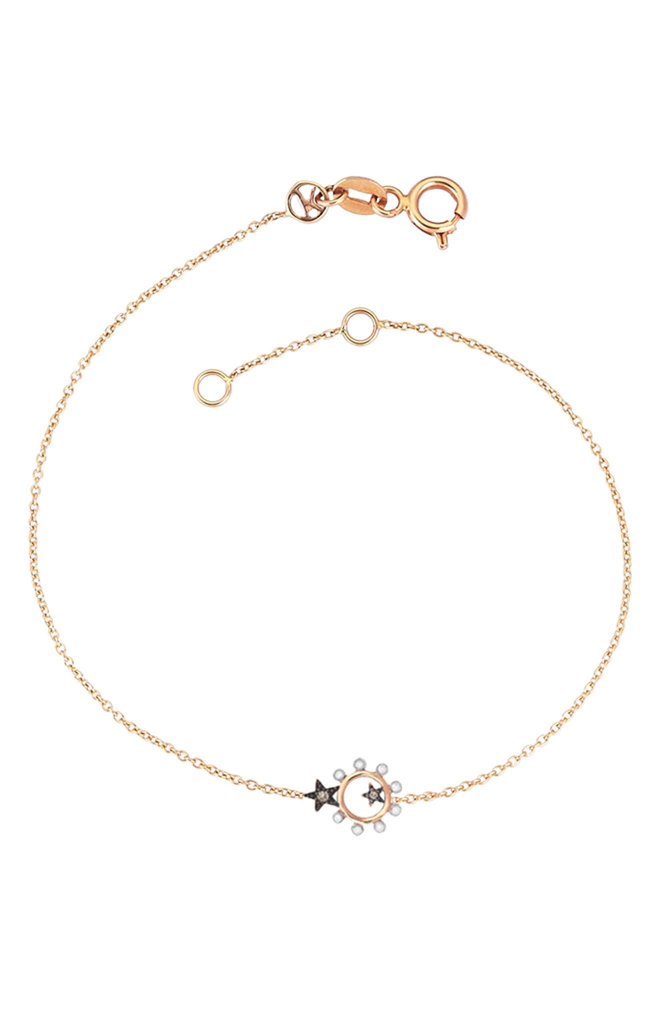 KISMET BY MILKA, Eclectic Star Bracelet, Main thumbnail 1, color, ROSE GOLD
