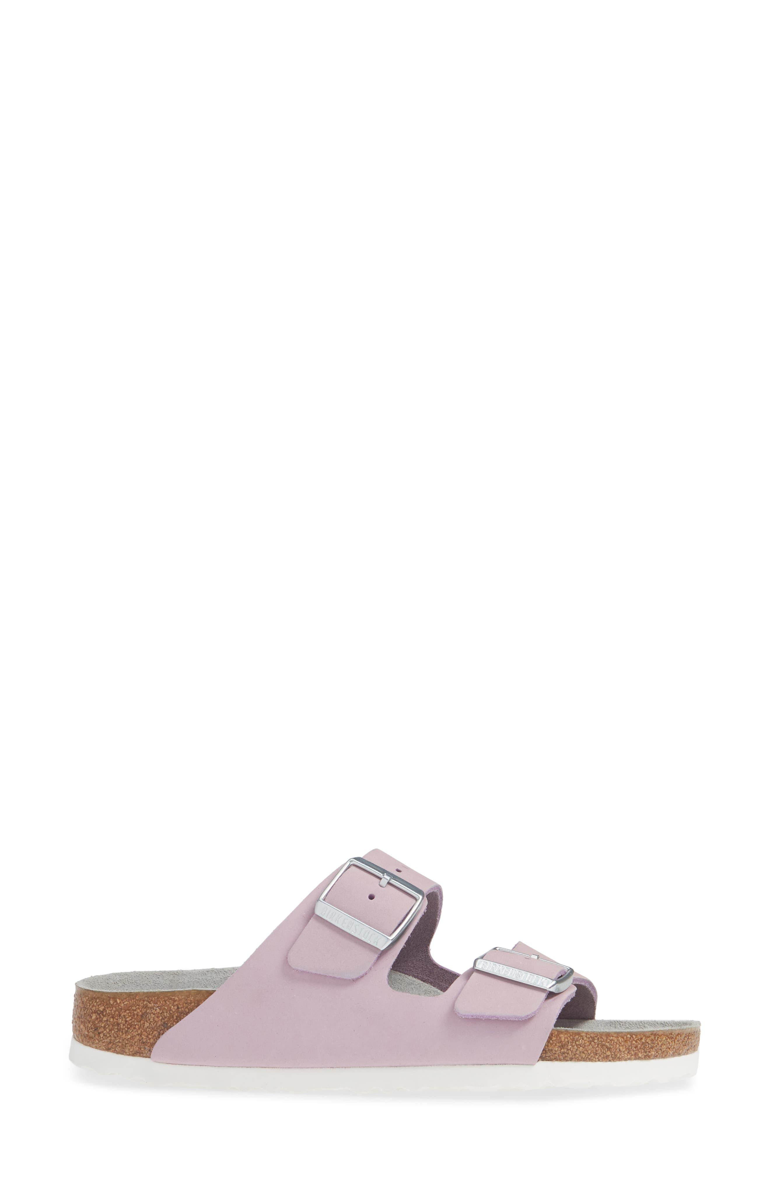 BIRKENSTOCK, Arizona Soft Footbed Sandal, Alternate thumbnail 3, color, LILAC NUBUCK