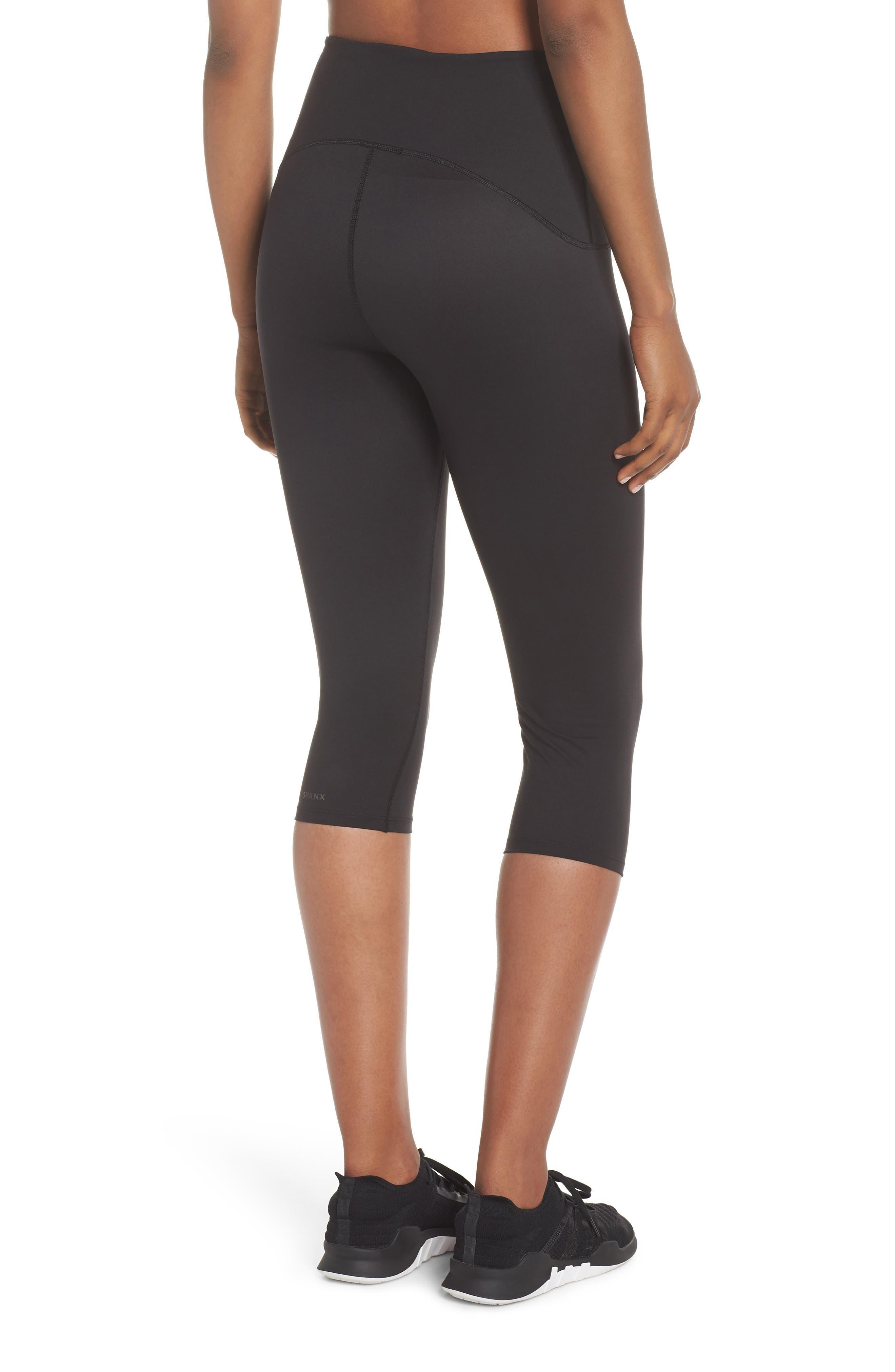 SPANX<SUP>®</SUP>, Active Knee-Length Leggings, Alternate thumbnail 2, color, BLACK