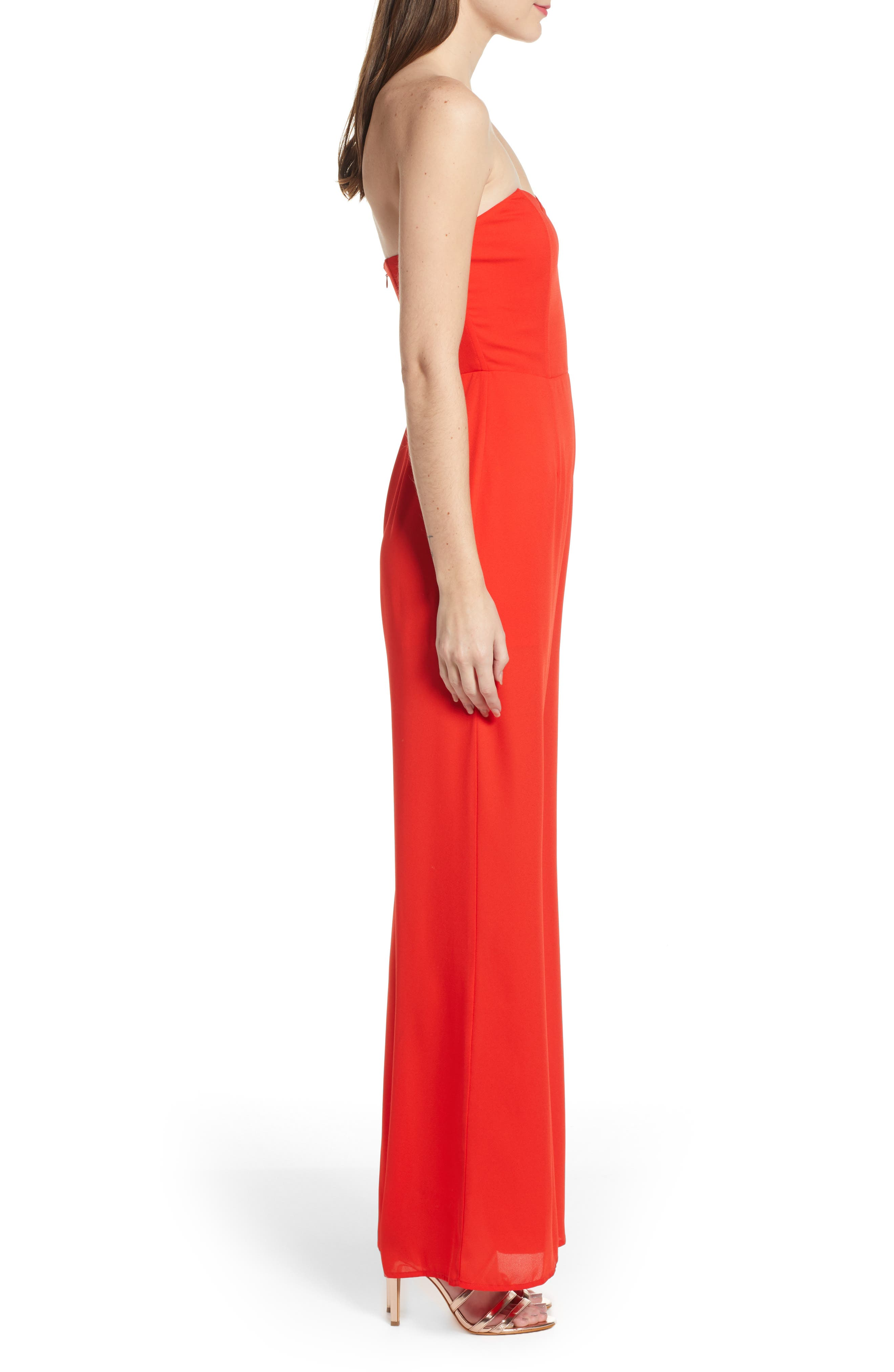 LEITH, Strapless Jumpsuit, Alternate thumbnail 4, color, RED SCARLET