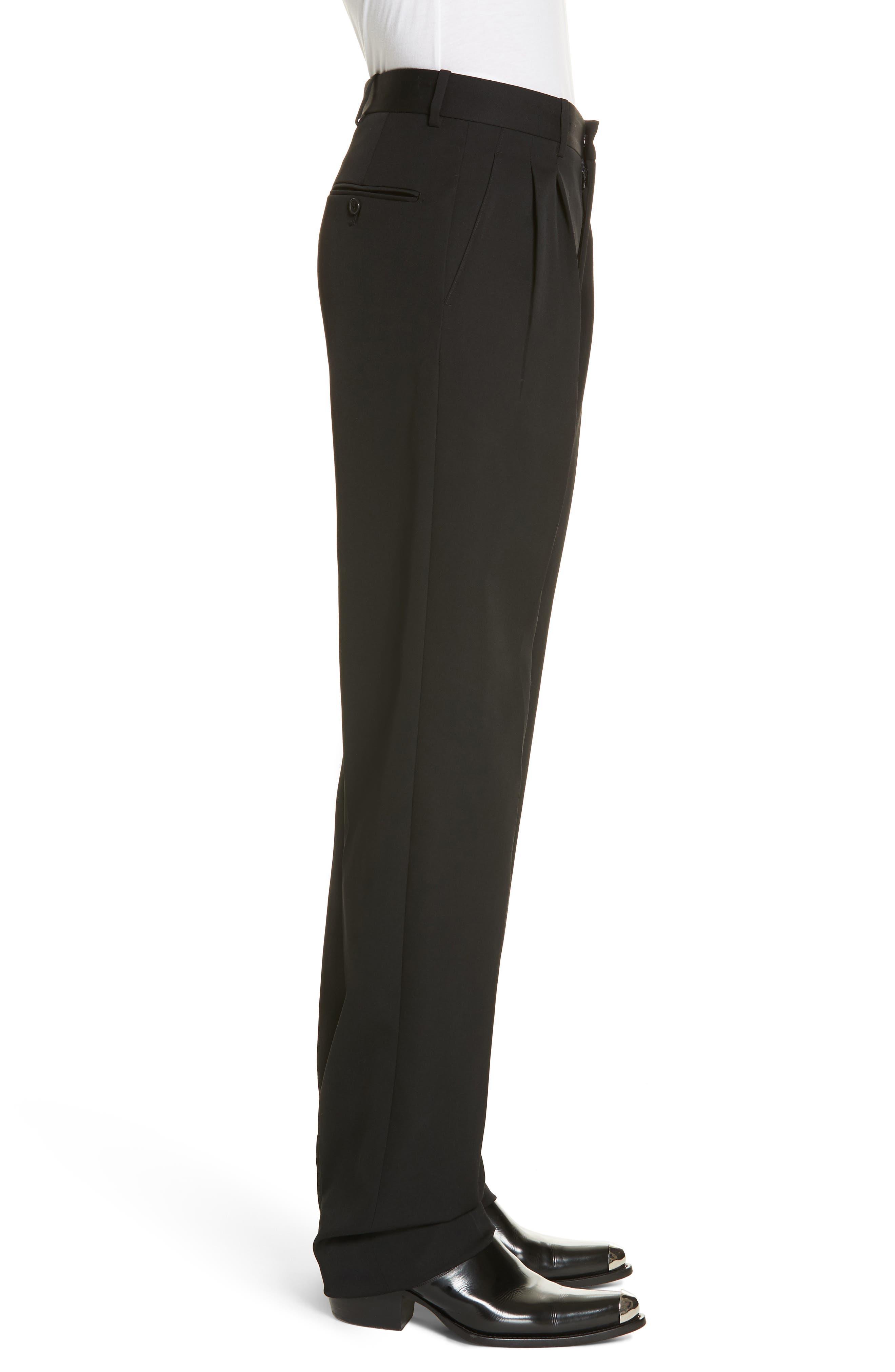 CALVIN KLEIN 205W39NYC, Wool Gabardine Pants, Alternate thumbnail 3, color, BLACK