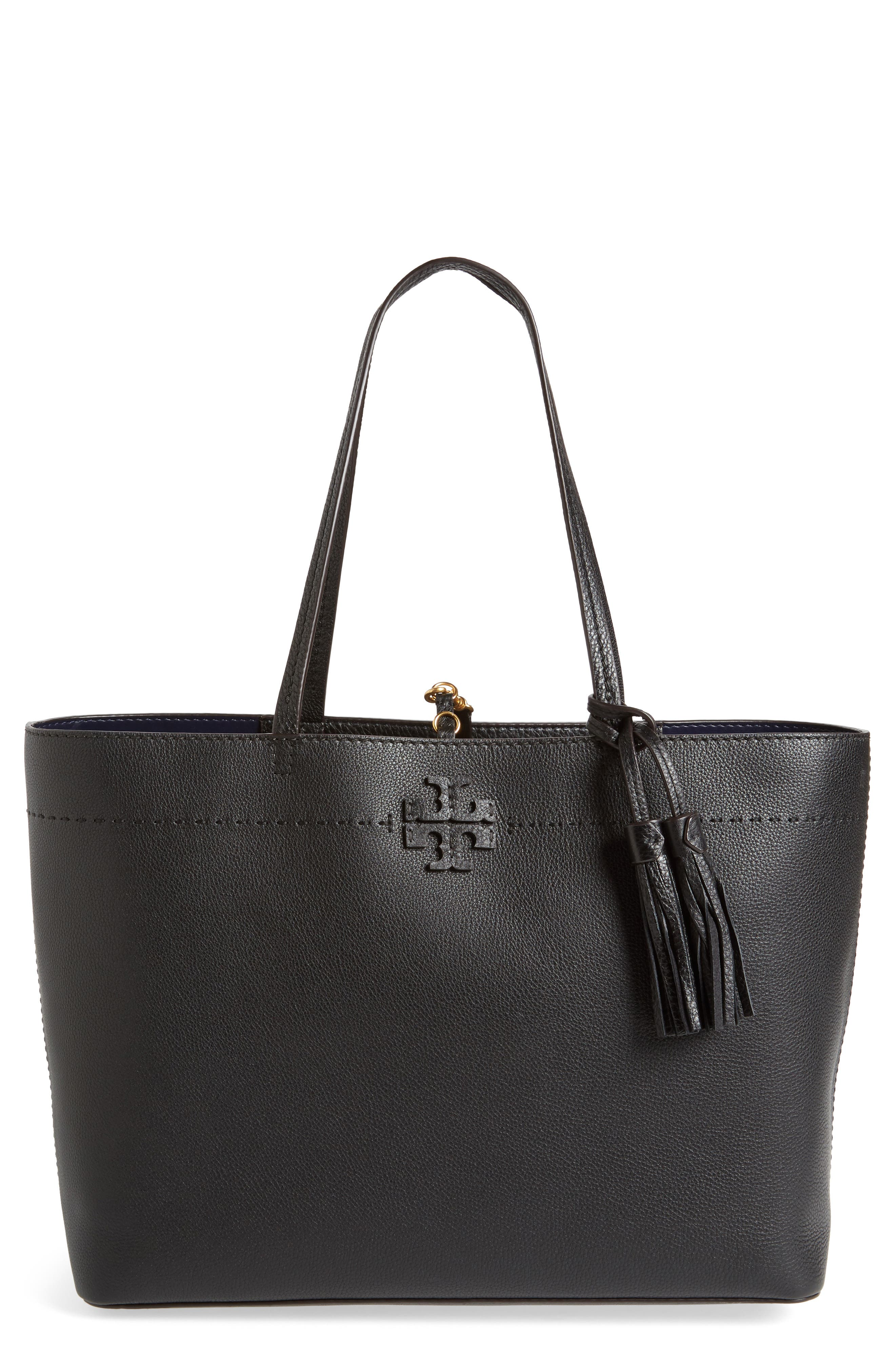TORY BURCH, McGraw Leather Laptop Tote, Main thumbnail 1, color, BLACK/ ROYAL NAVY