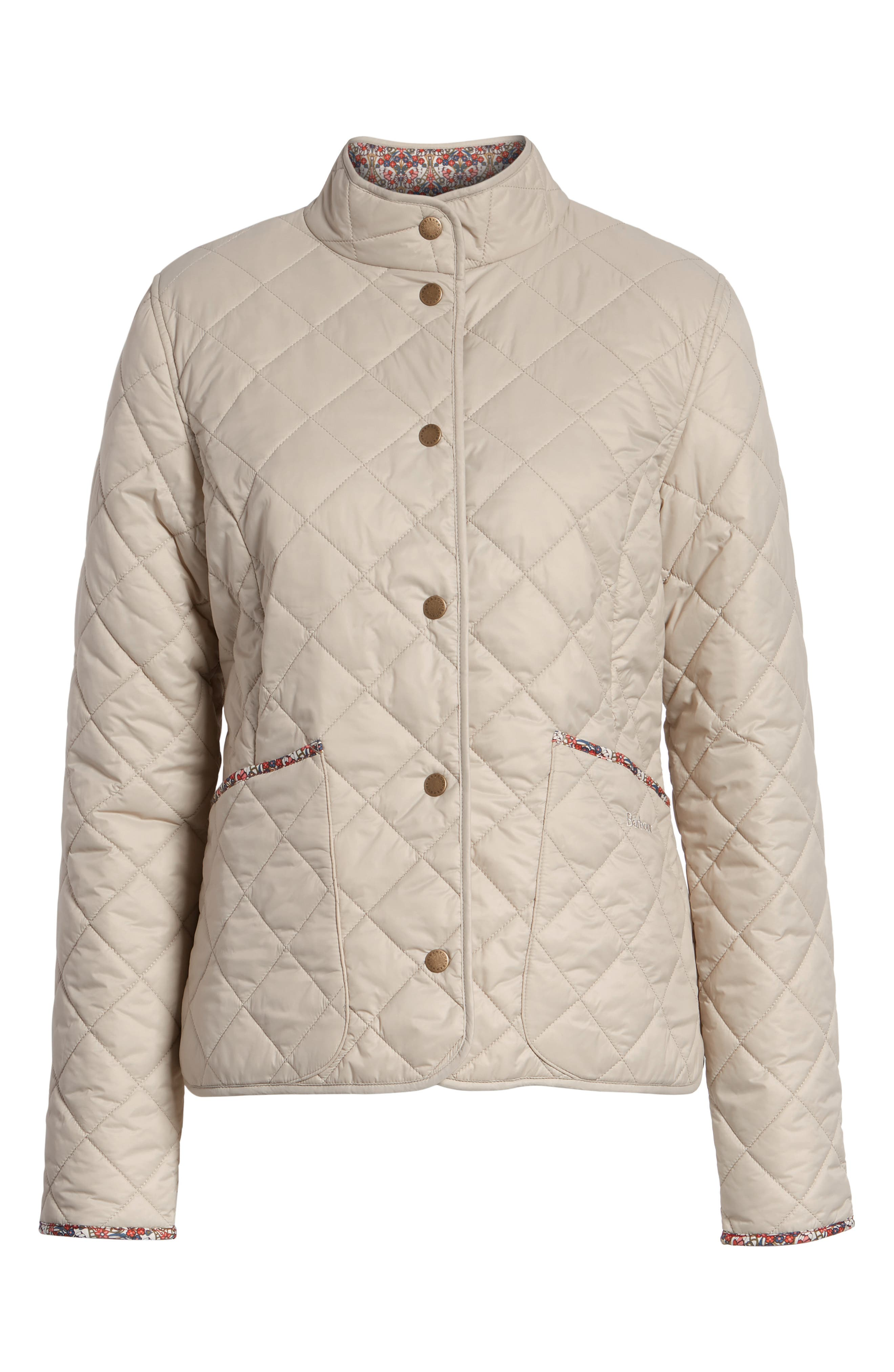 BARBOUR, x Liberty Evelyn Quilted Jacket, Alternate thumbnail 6, color, MIST/ MORRIS BUTTERFLY